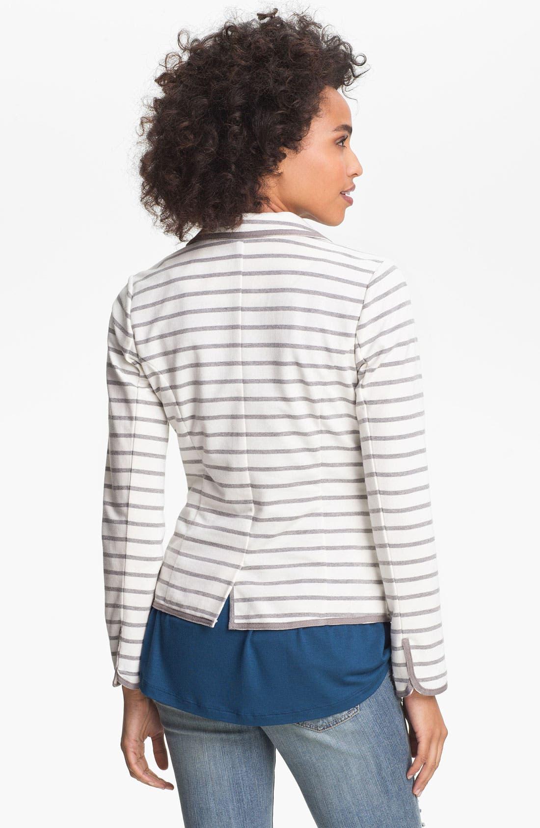 Alternate Image 2  - Olive & Oak Stripe Knit Blazer (Online Exclusive)
