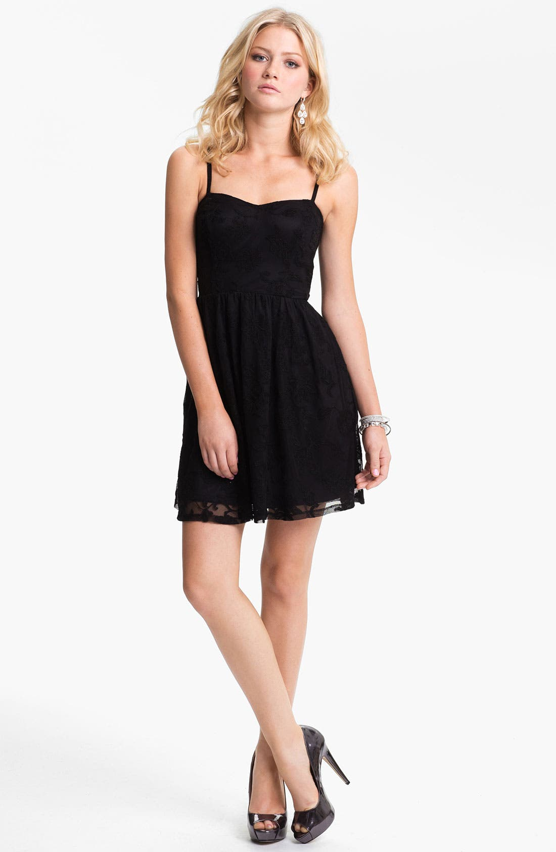 Alternate Image 1 Selected - Fire Lace Skater Dress (Juniors) (Online Only)