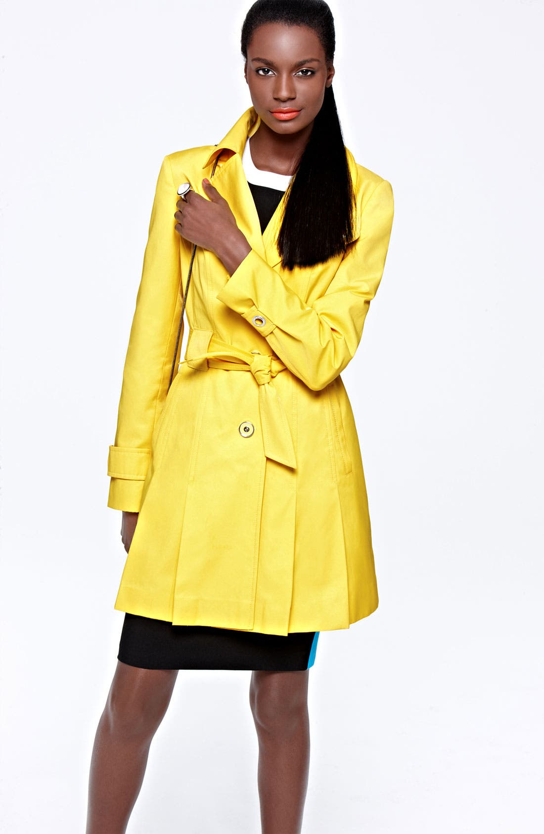 Alternate Image 1 Selected - Via Spiga Trench Coat & Calvin Klein Sheath Dress