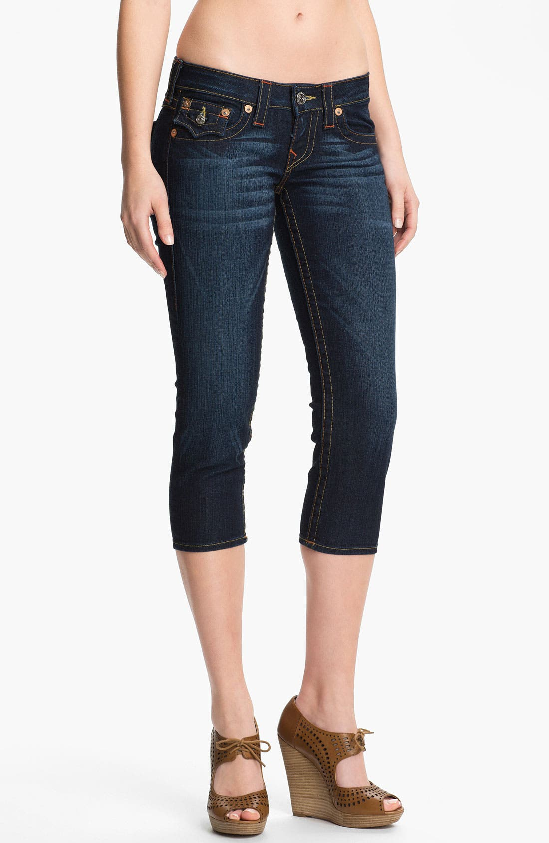 Alternate Image 1 Selected - True Religion Brand Jeans 'Lily' Crop Skinny Jeans (Dark Pony Express)