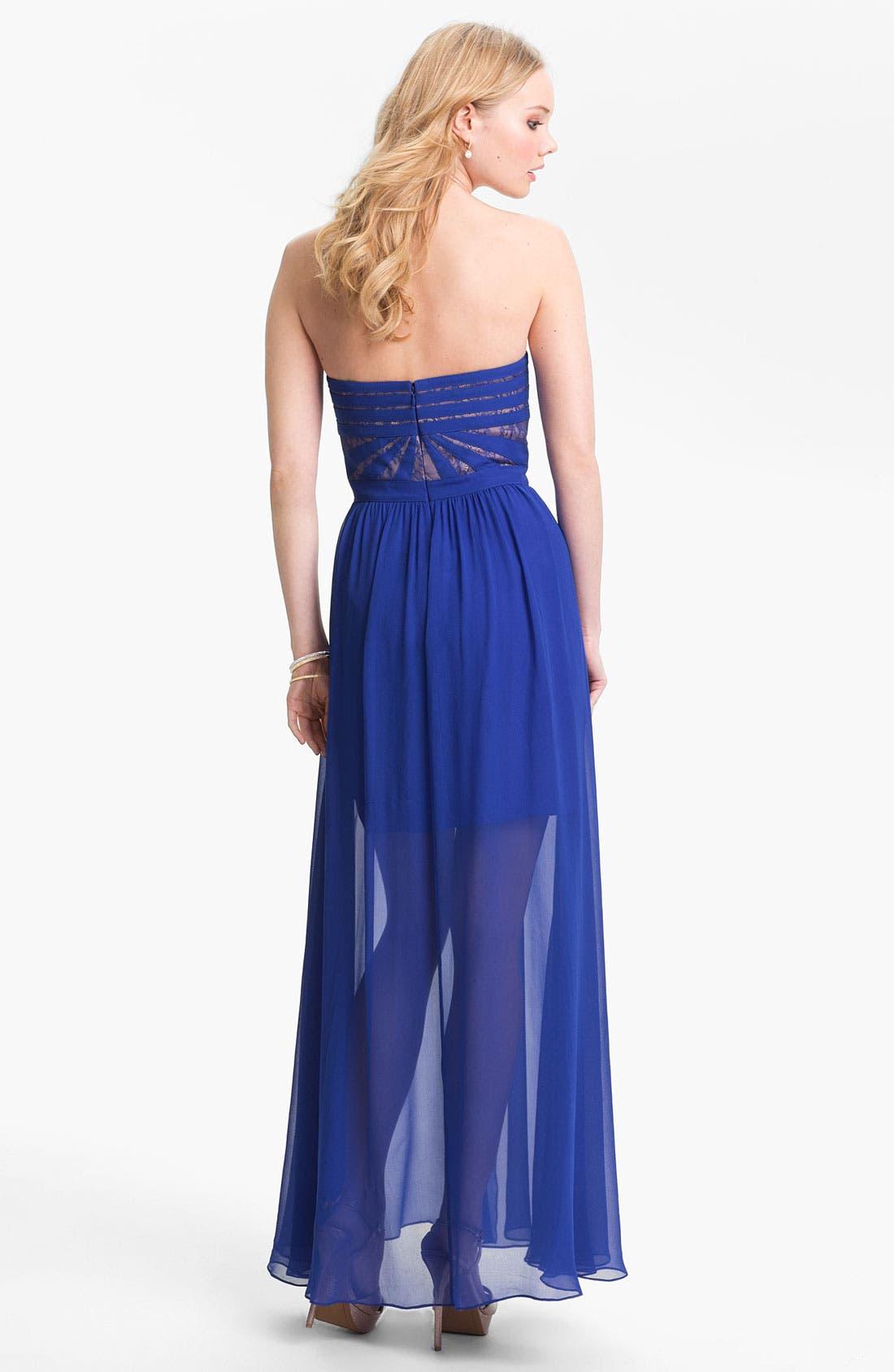 Alternate Image 2  - Aidan by Aidan Mattox Strapless Lace & Chiffon Dress
