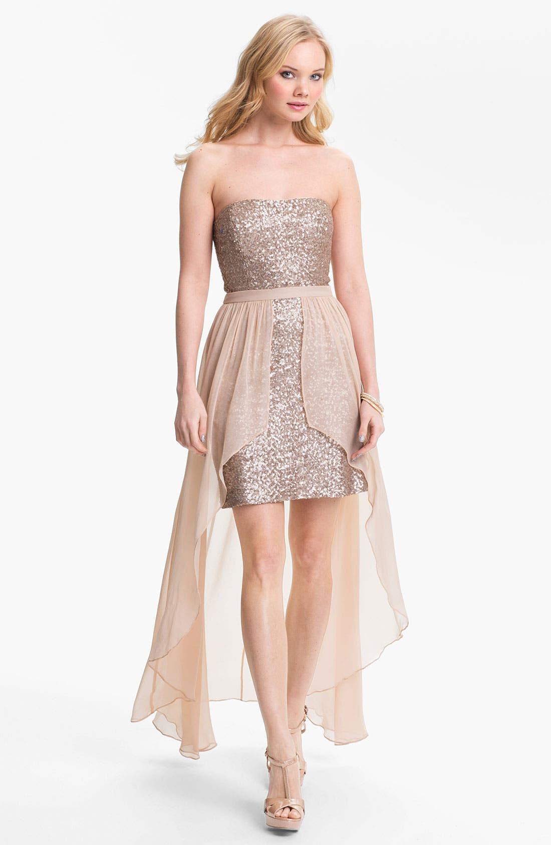 Main Image - Aidan Mattox Chiffon Overlay Sequin Dress (Online Only)