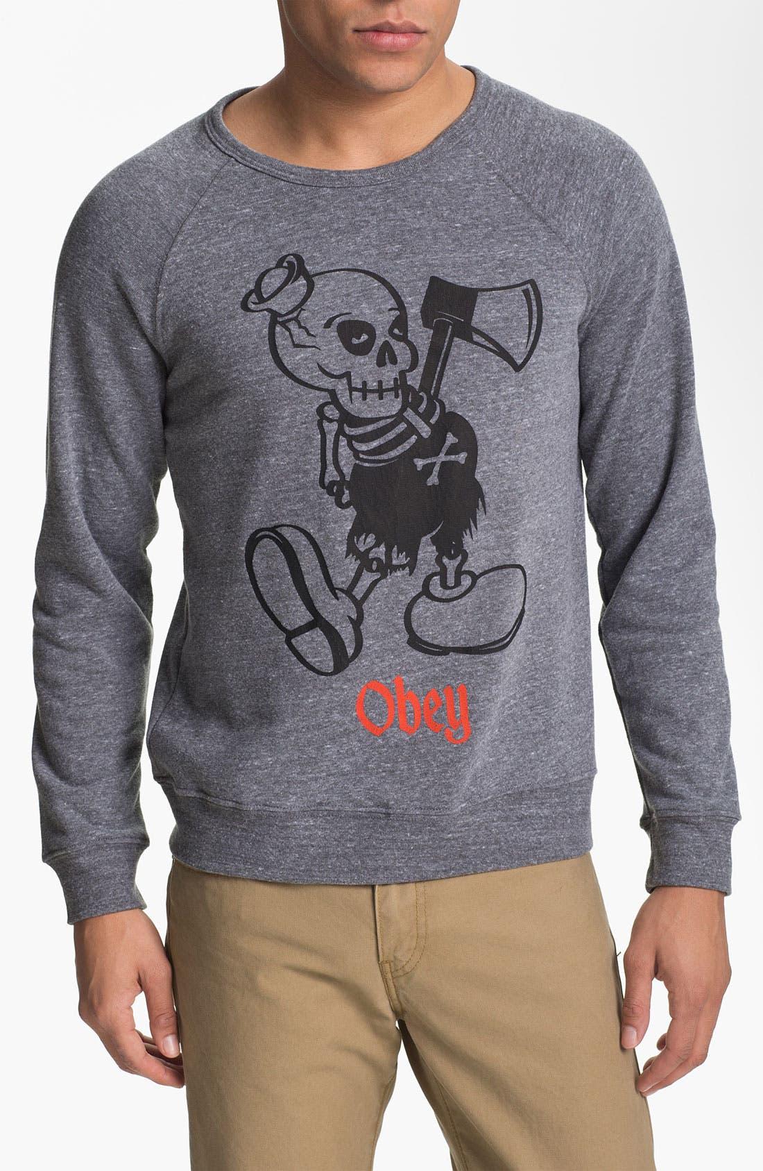 Alternate Image 1 Selected - Obey 'Oh Boy' Graphic Crewneck Sweatshirt