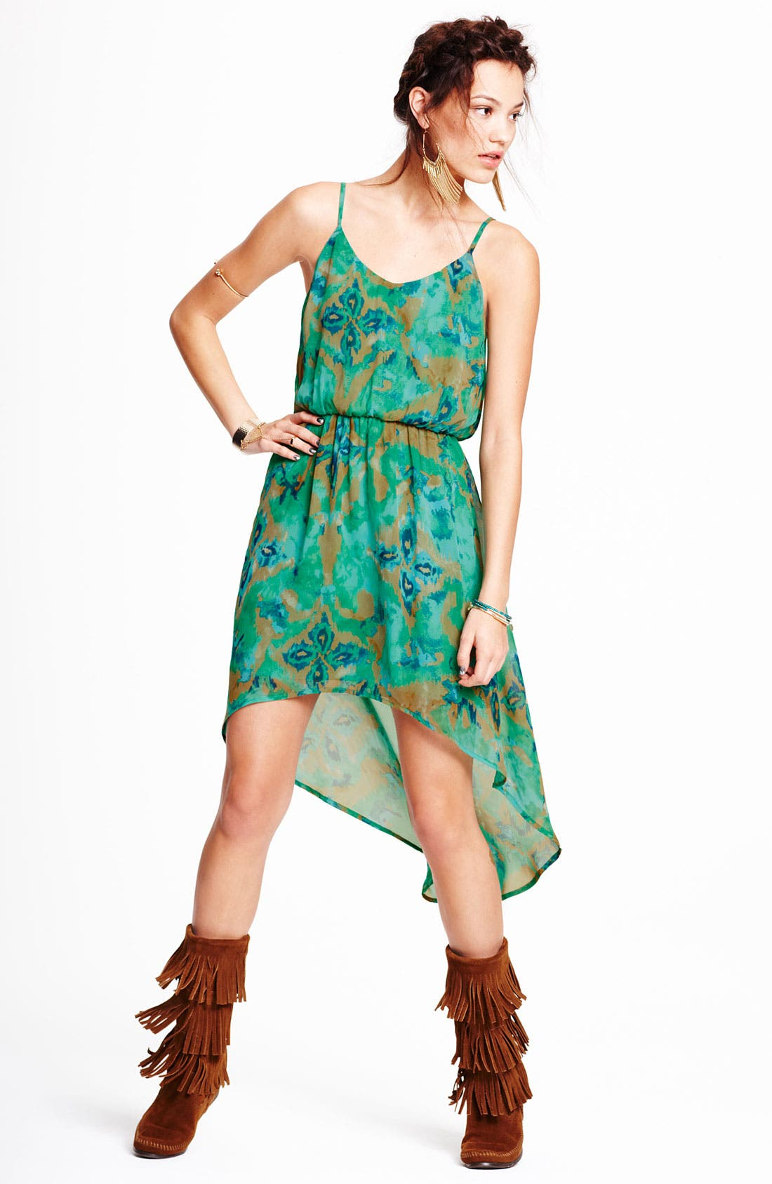 Alternate Image 3  - Lush High/Low Print Chiffon Dress (Juniors)