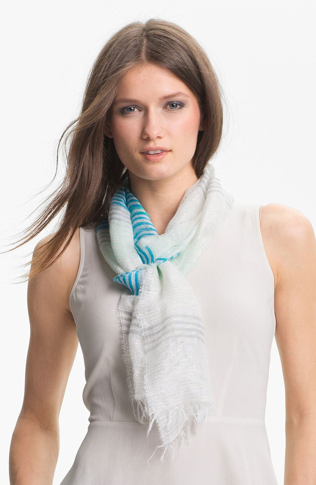 Alternate Image 1 Selected - Eileen Fisher Metallic Stripe Narrow Scarf