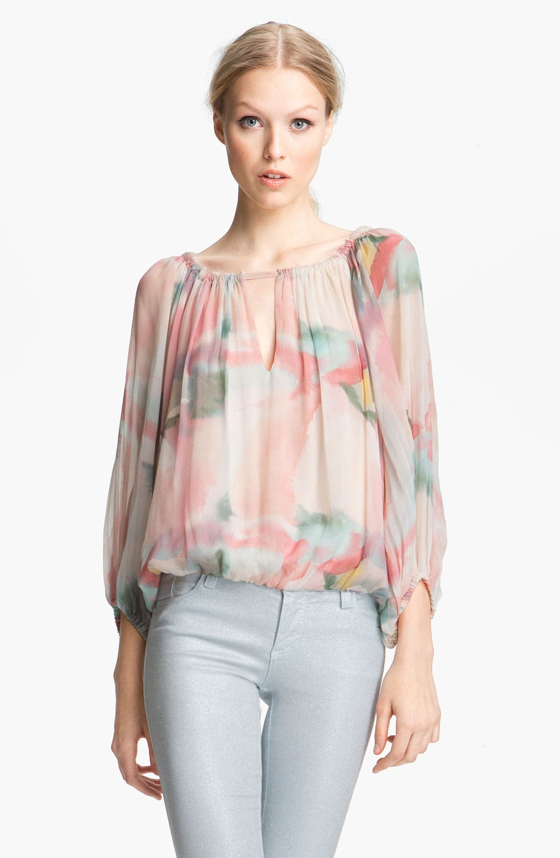 Alternate Image 1 Selected - Alice + Olivia Floral Print Silk Top