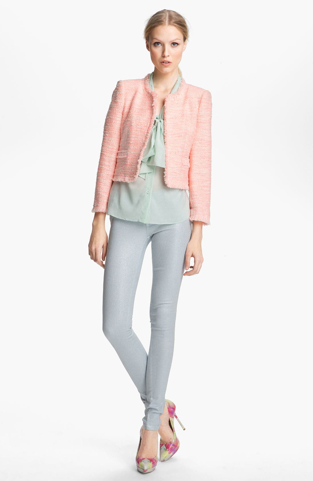 Alternate Image 5  - Alice + Olivia Glitter Skinny Stretch Jeans