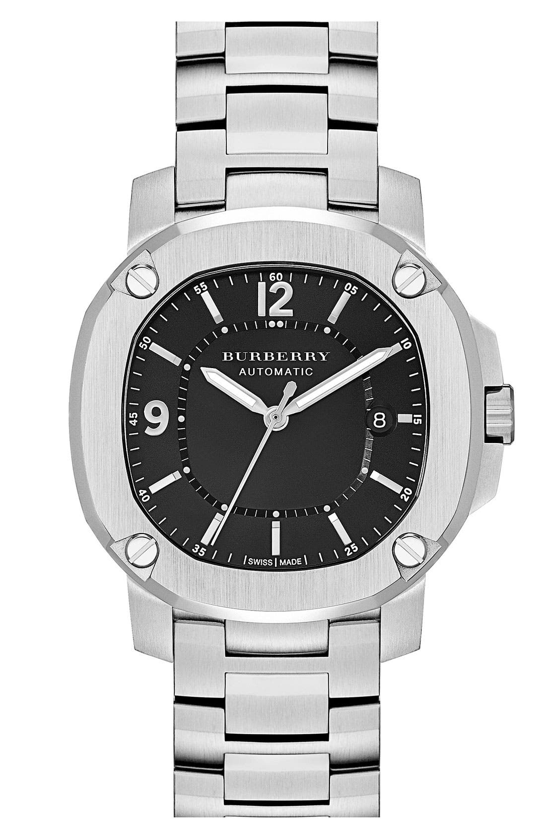 Main Image - Burberry The Britain Automatic Bracelet Watch, 38mm