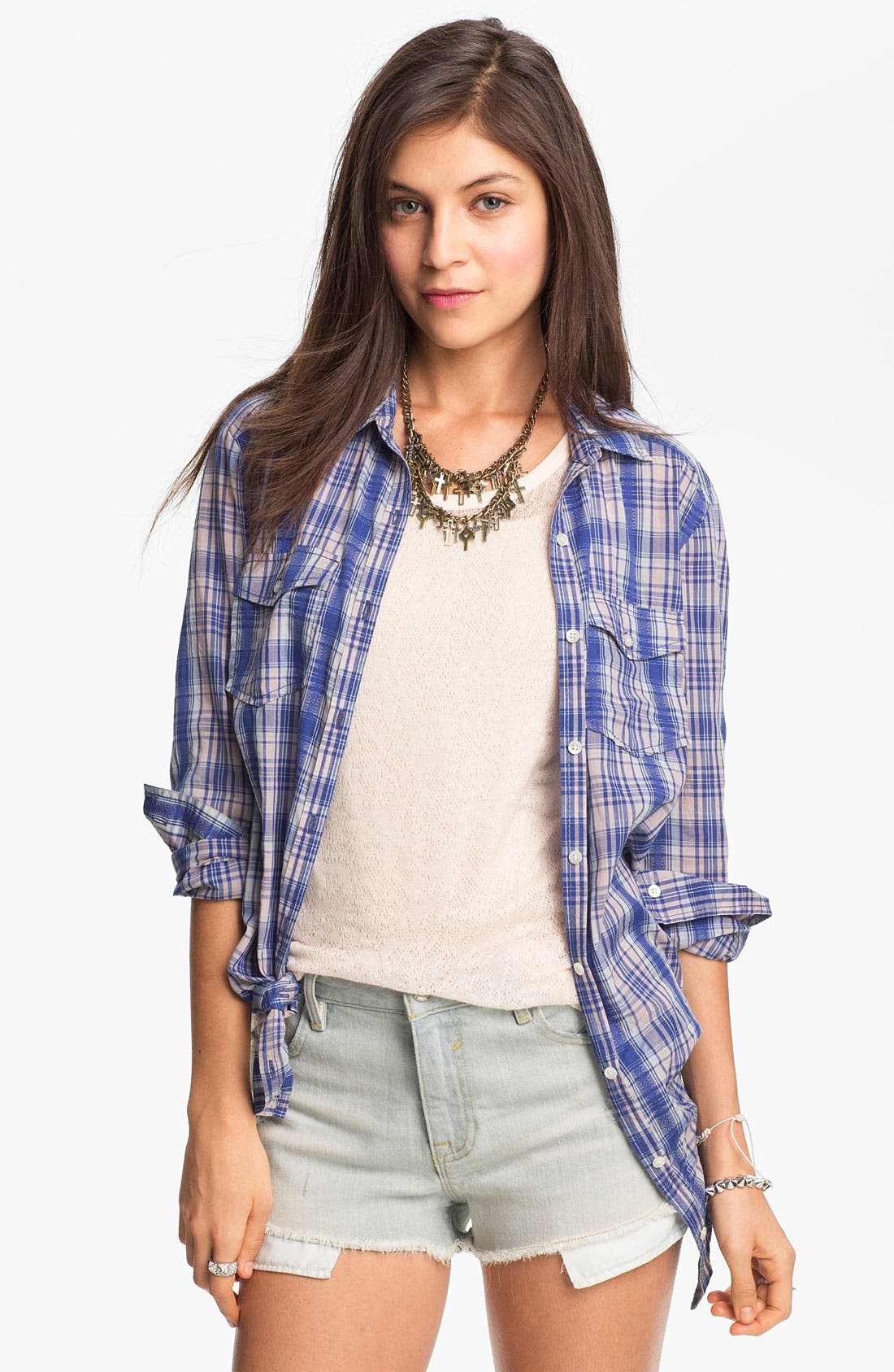 Main Image - Rubbish Oversized Plaid Shirt (Juniors)