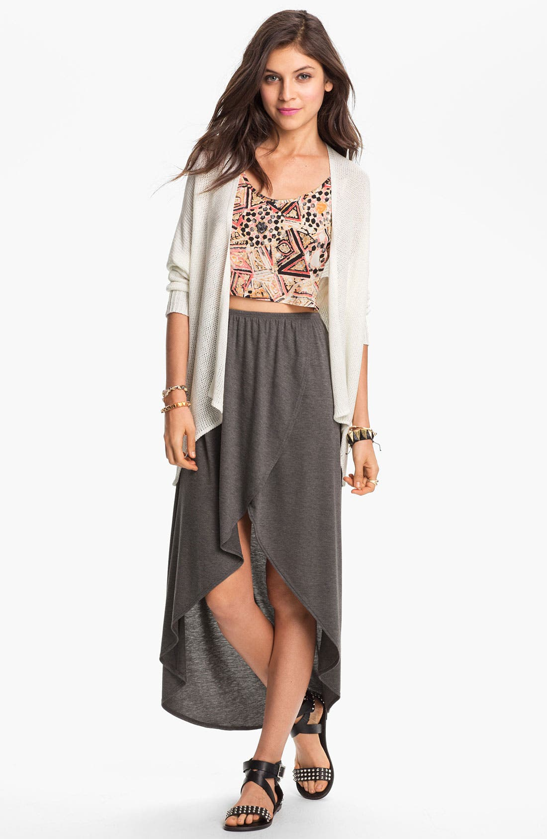 Alternate Image 1 Selected - Lily White High/Low Faux Wrap Skirt (Juniors)