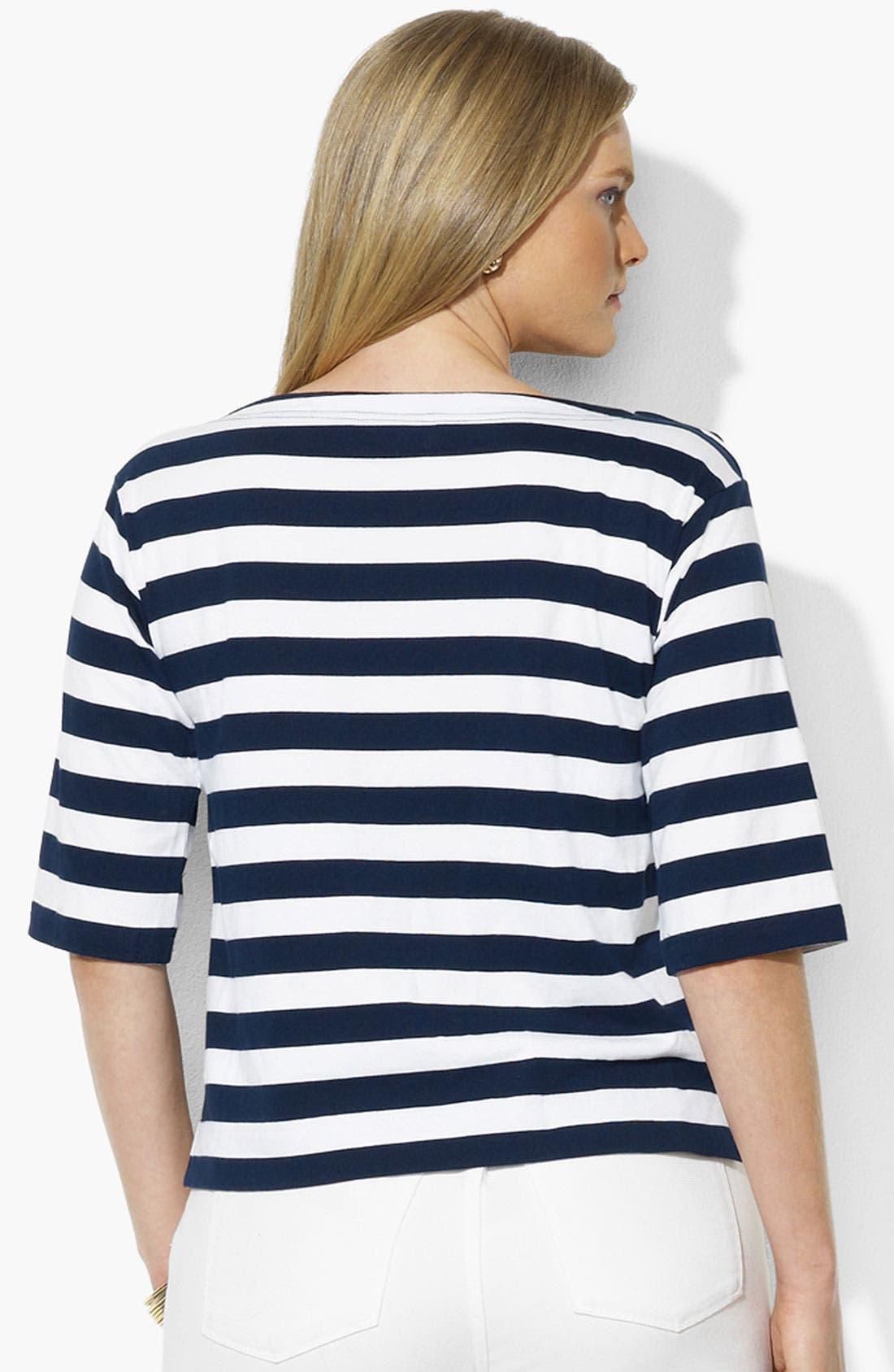 Alternate Image 2  - Lauren Ralph Lauren Button Shoulder Stripe Top (Plus)