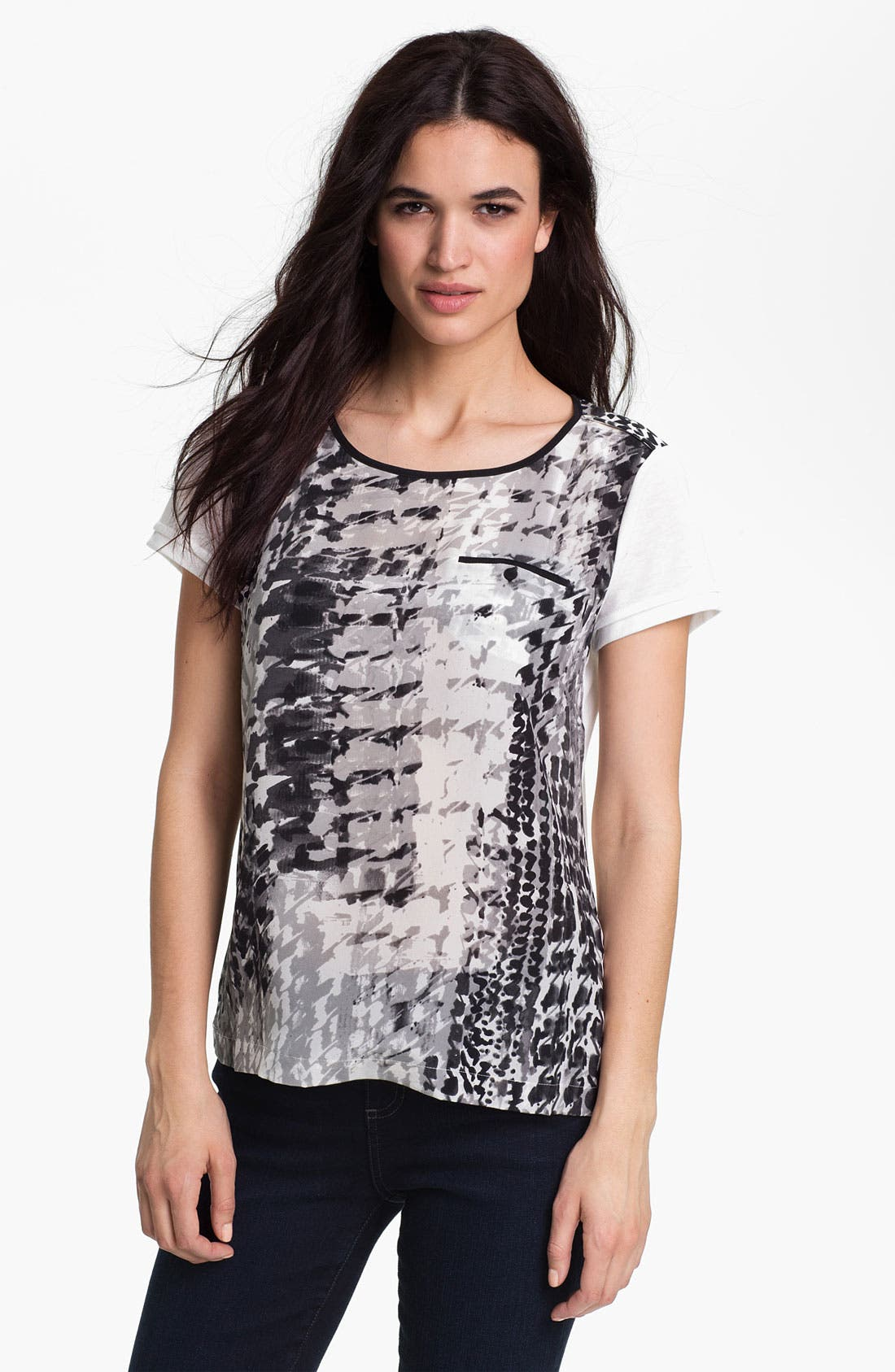 Alternate Image 1 Selected - Matty M One Pocket Silk Tee (Online Only)