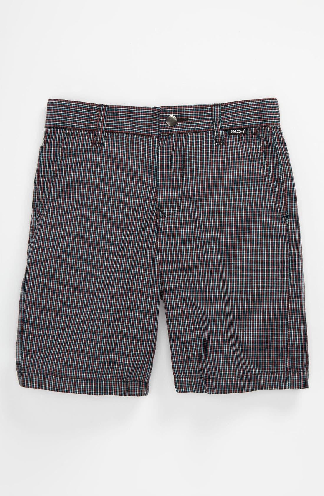 Main Image - Volcom 'Rushy' Plaid Shorts (Toddler)