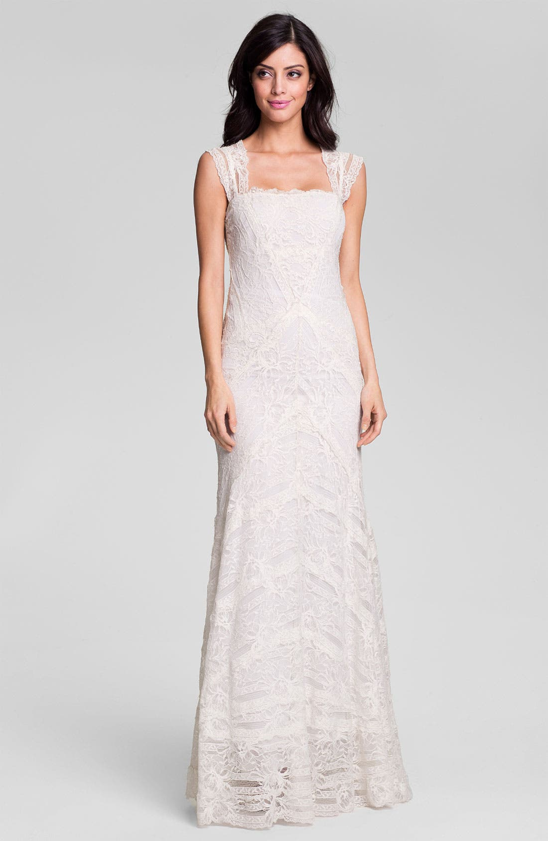 Alternate Image 1 Selected - Nicole Miller 'Aneka' Cap Sleeve Lace Gown