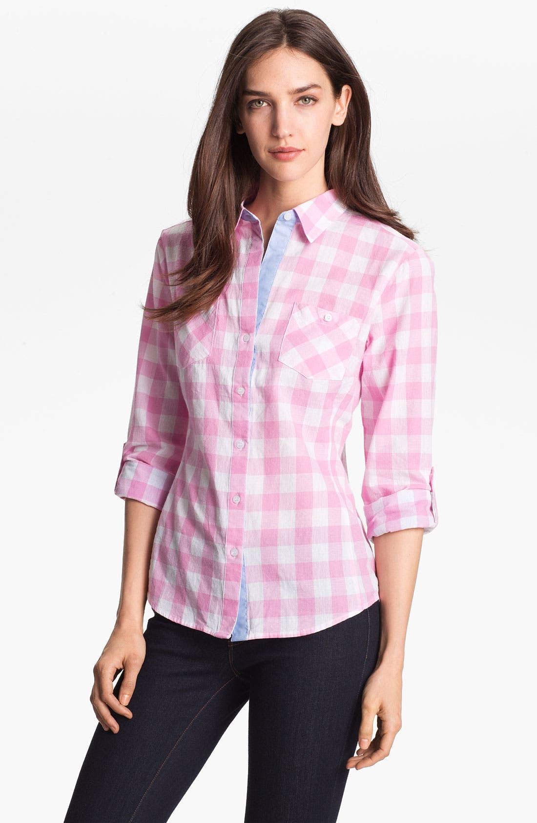 Alternate Image 1 Selected - Sandra Ingrish Roll Sleeve Check Shirt (Petite)