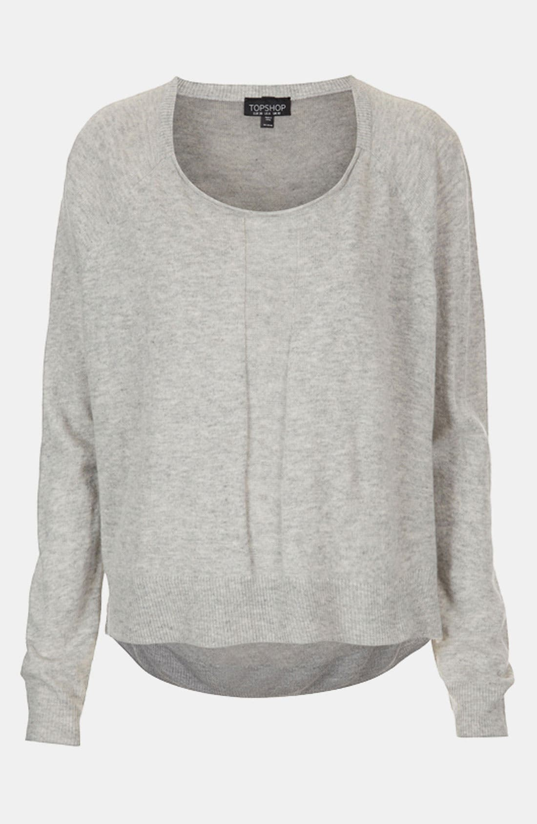 Main Image - Topshop Sheer Back High/Low Sweater