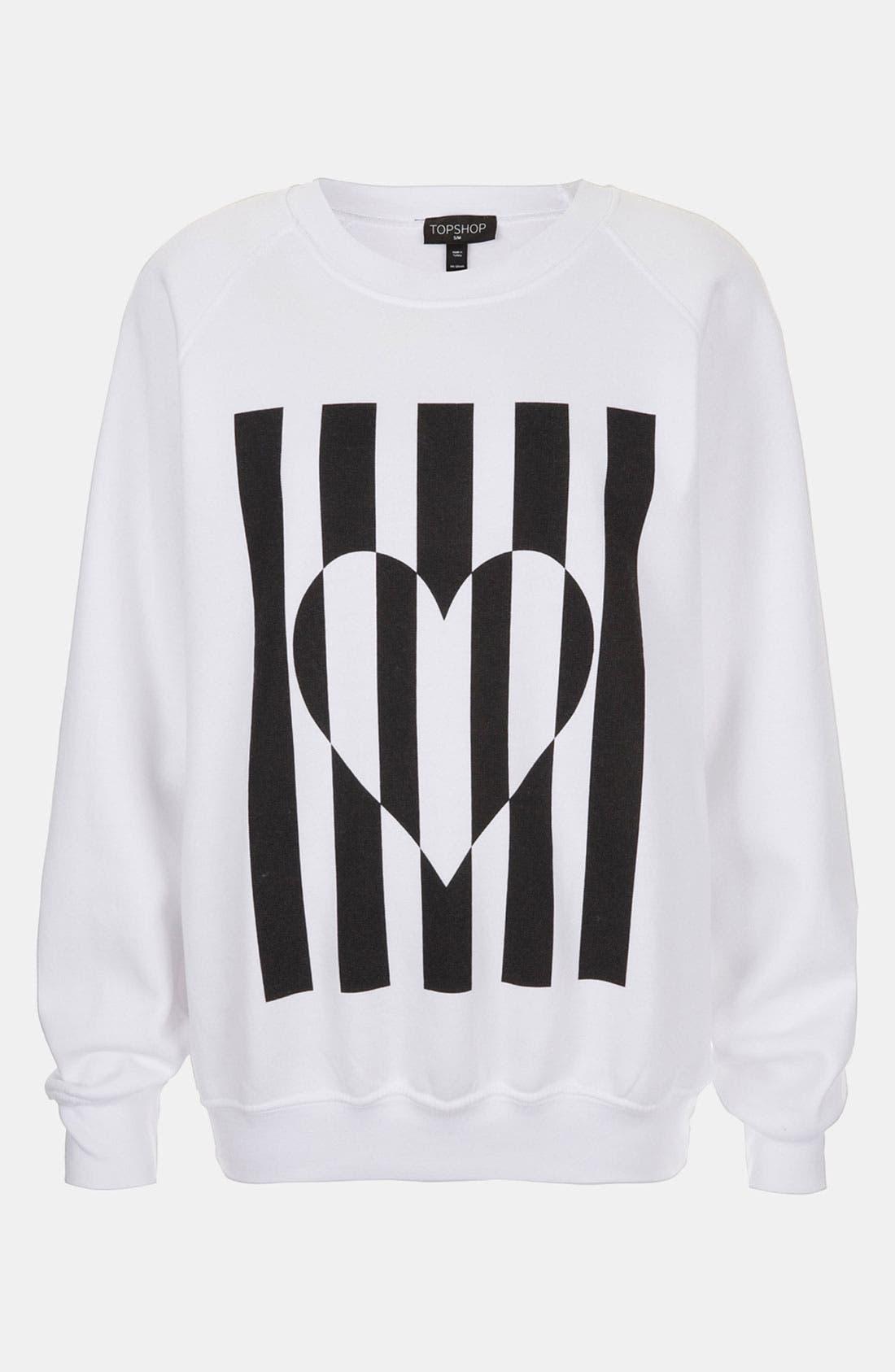 Alternate Image 1 Selected - Topshop Heart Graphic Sweatshirt