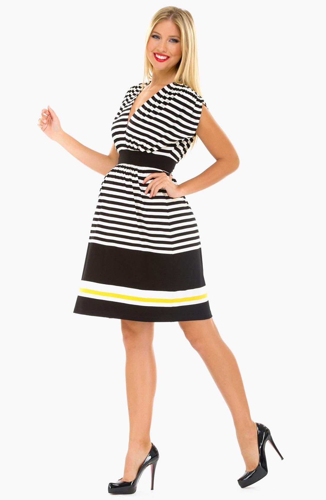 Alternate Image 3  - Olian Maternity Kimono Stripe Dress