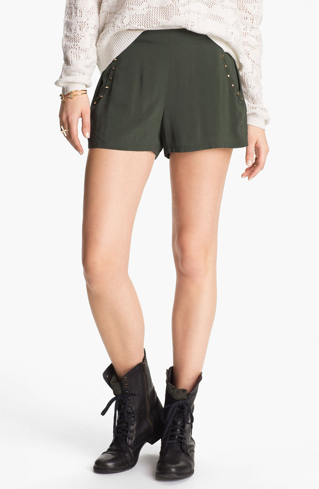 Main Image - h.i.p. Studded High Waist Shorts (Juniors)