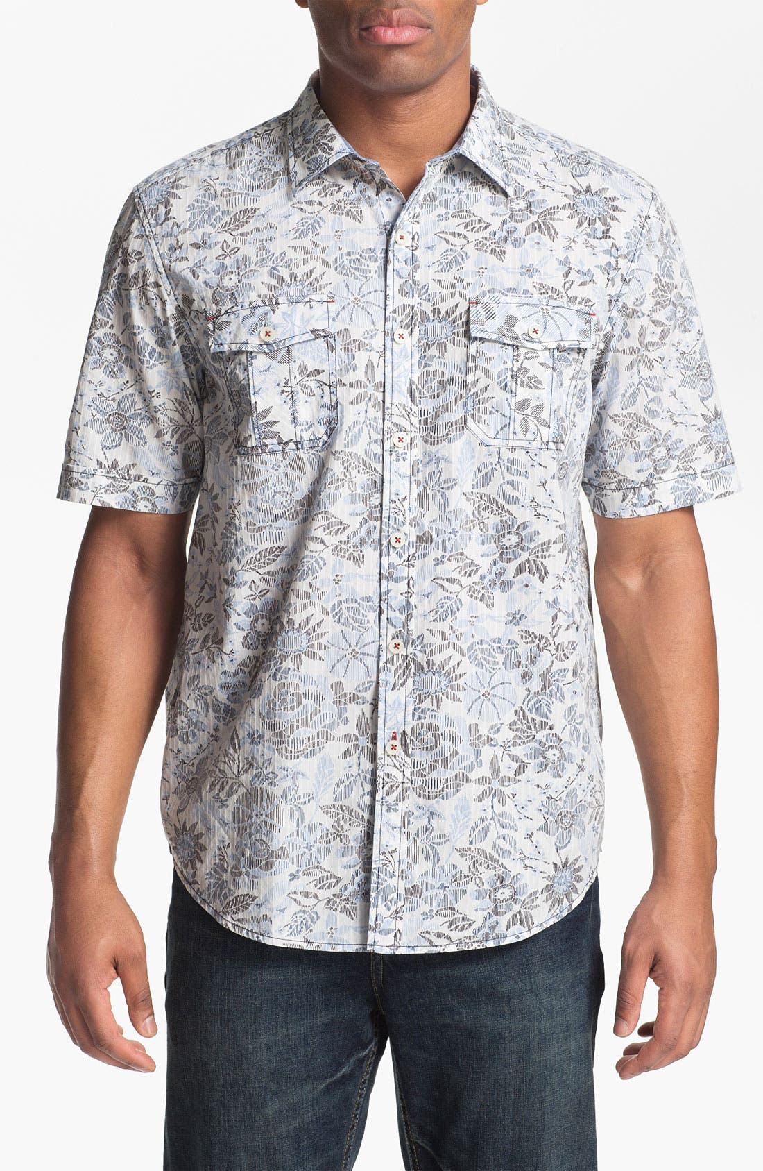 Alternate Image 1 Selected - Tommy Bahama Denim 'Sea Canyon Print' Regular Fit Short Sleeve Sport Shirt