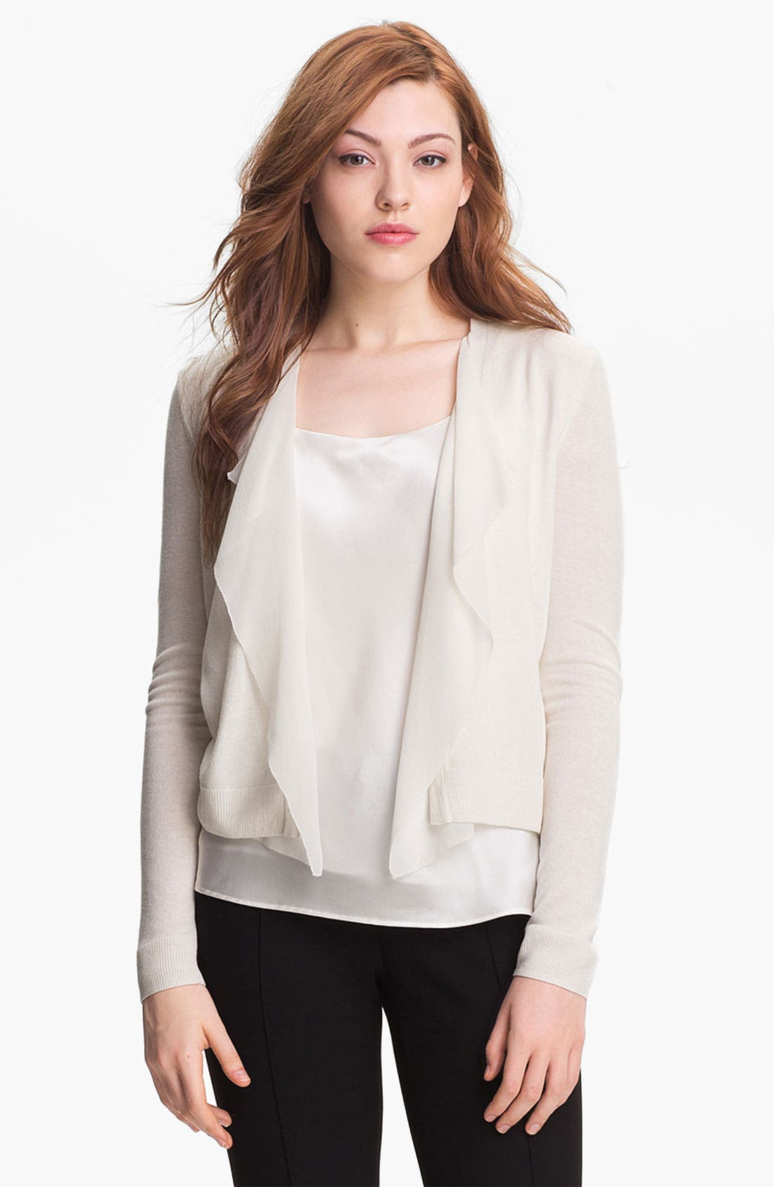 Alternate Image 1 Selected - Nordstrom Collection Silk Chiffon Trim Cardigan