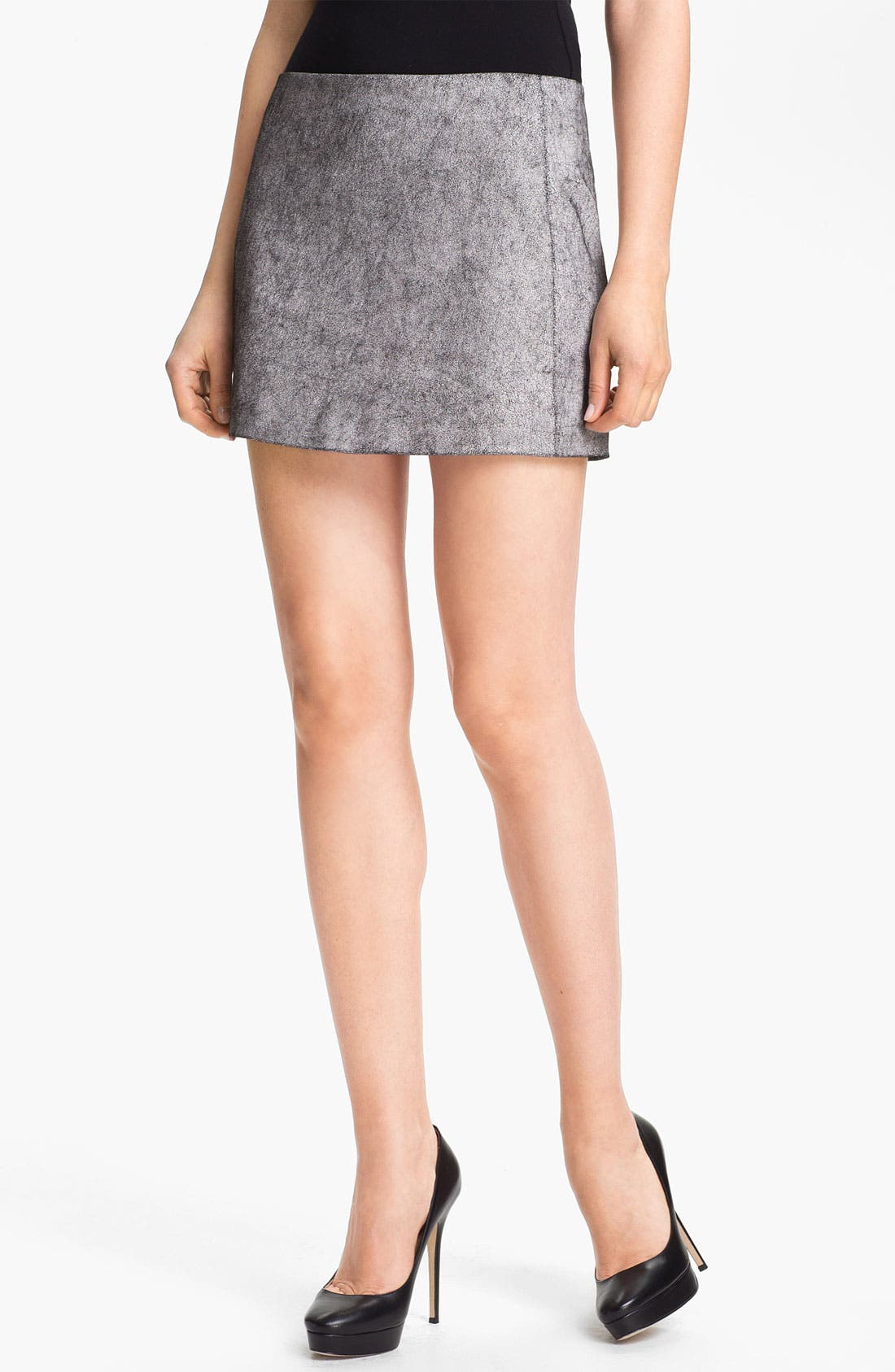 Main Image - Skaist-Taylor Cracked Stretch Leather Miniskirt