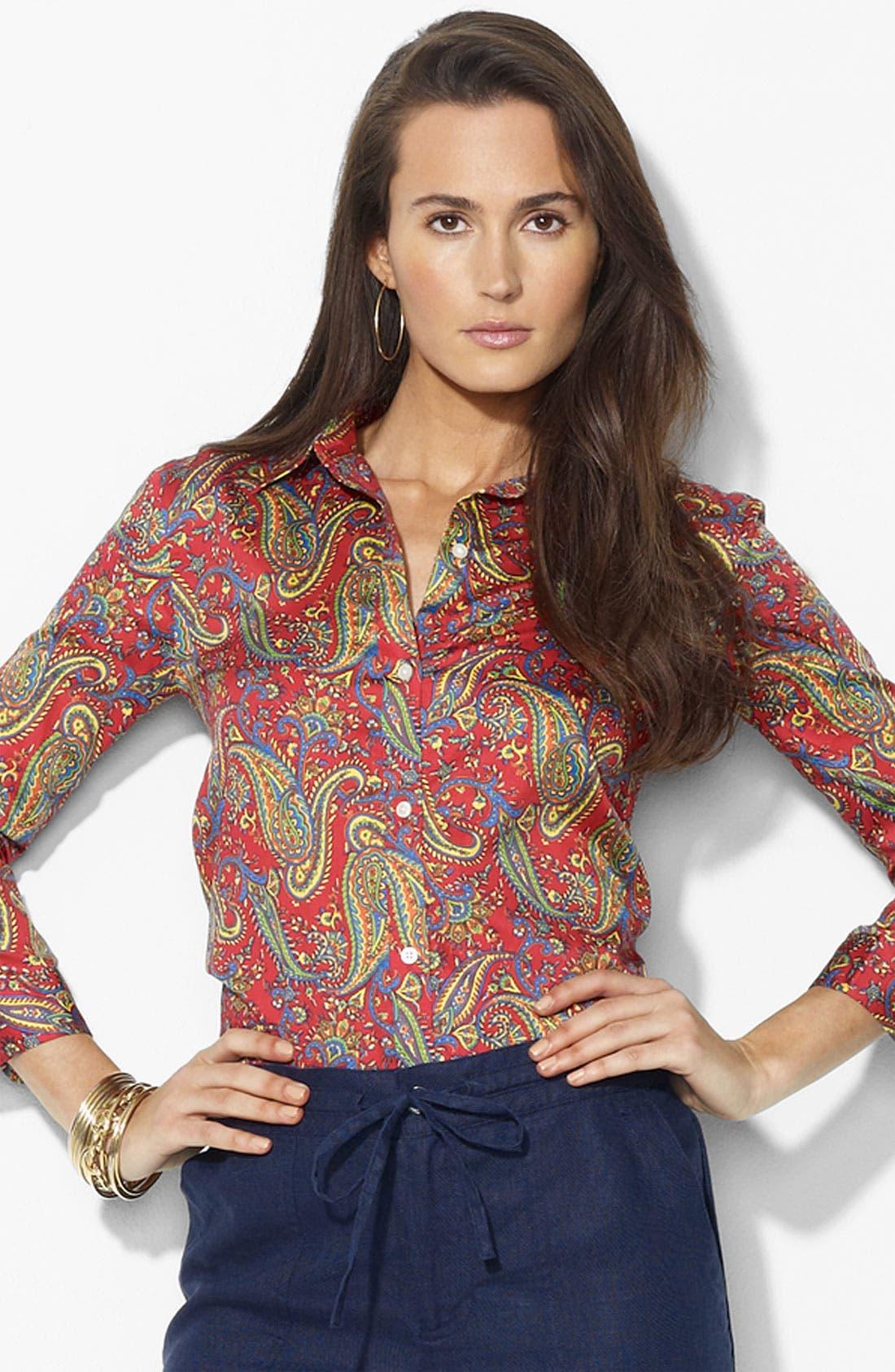 Alternate Image 1 Selected - Lauren Ralph Lauren Paisley Print Shirt
