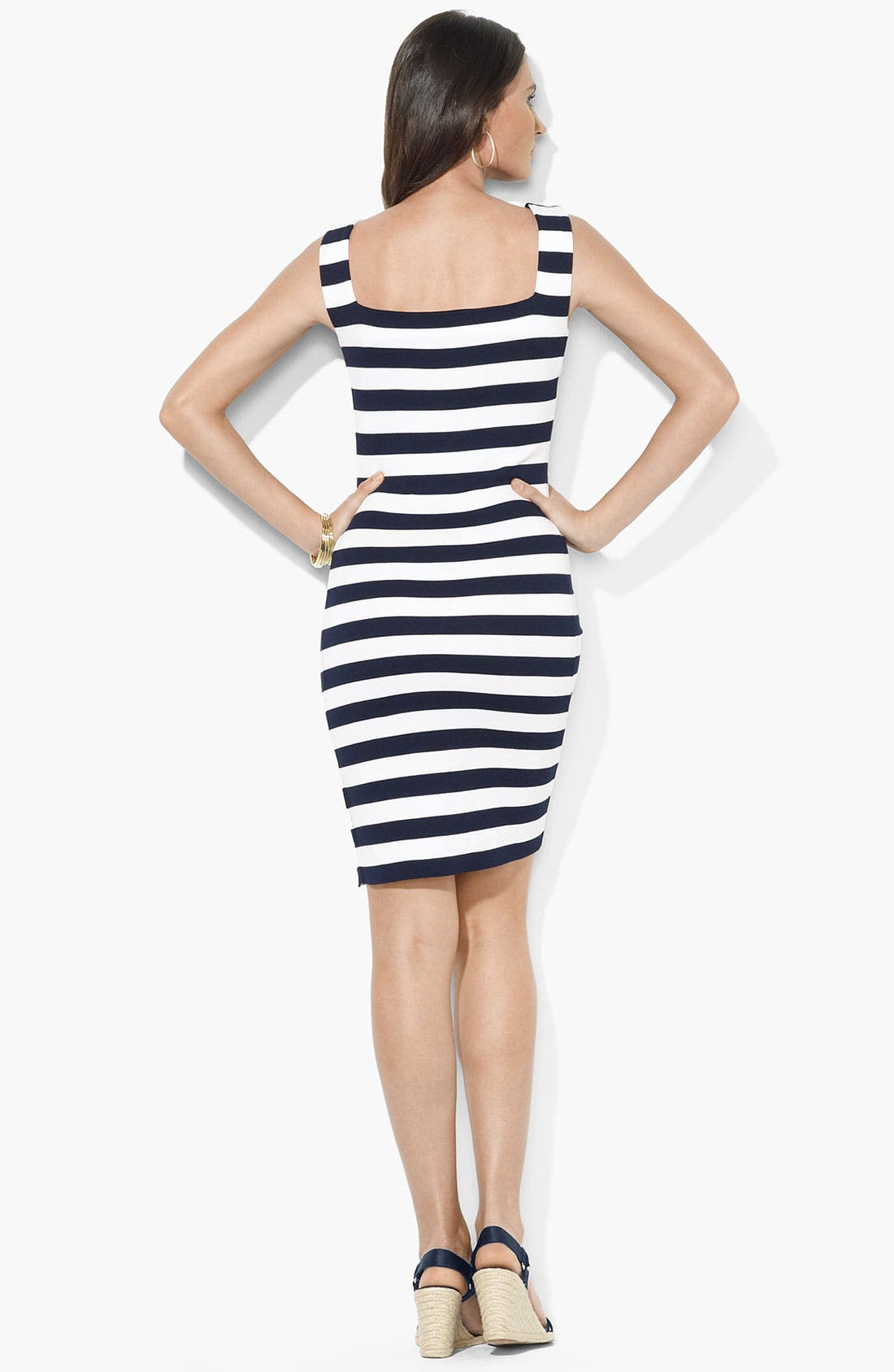 Alternate Image 2  - Lauren Ralph Lauren Square Neck Side Button Dress
