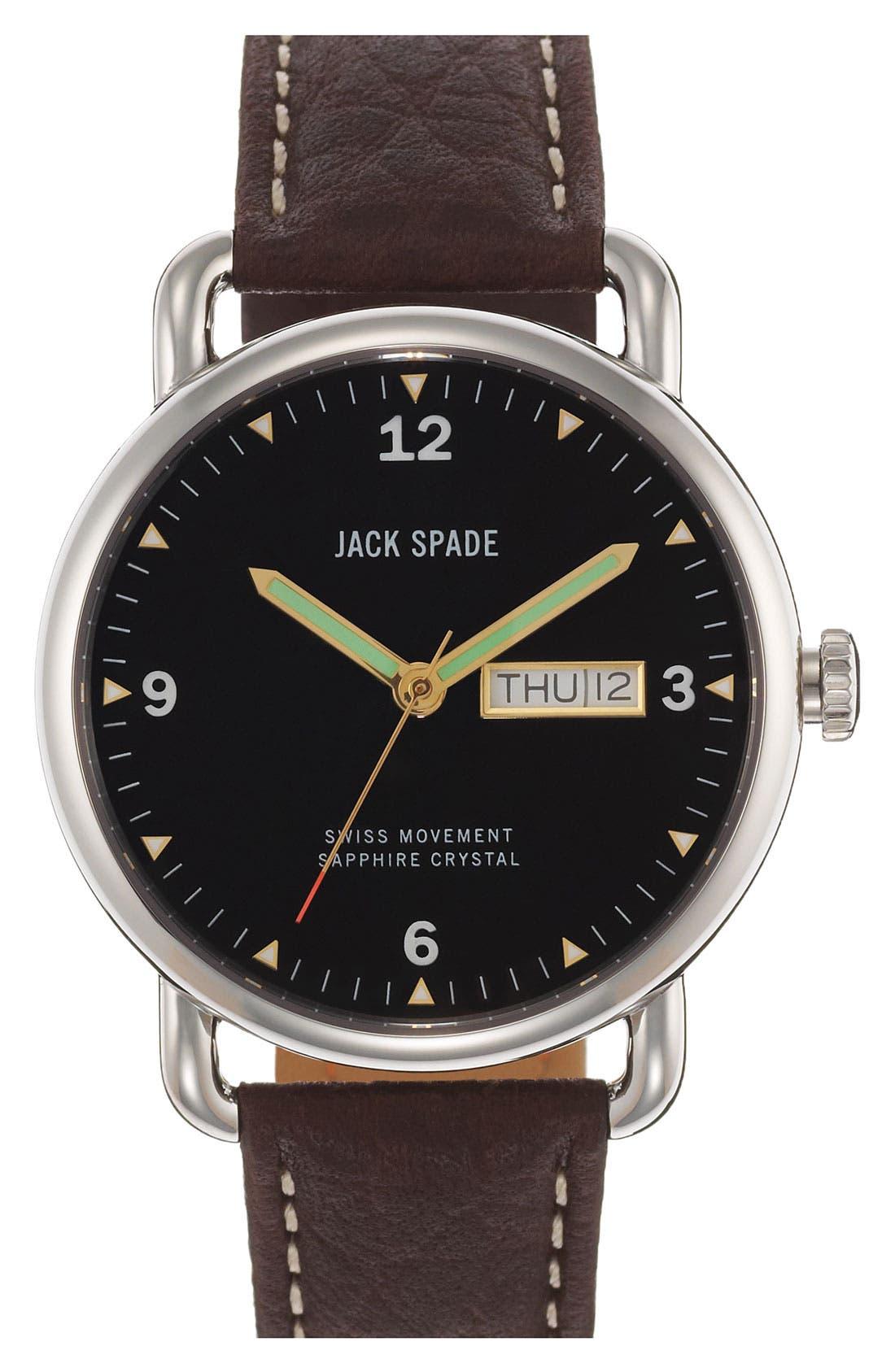 Main Image - Jack Spade 'Buckner' Leather Strap Watch, 42mm