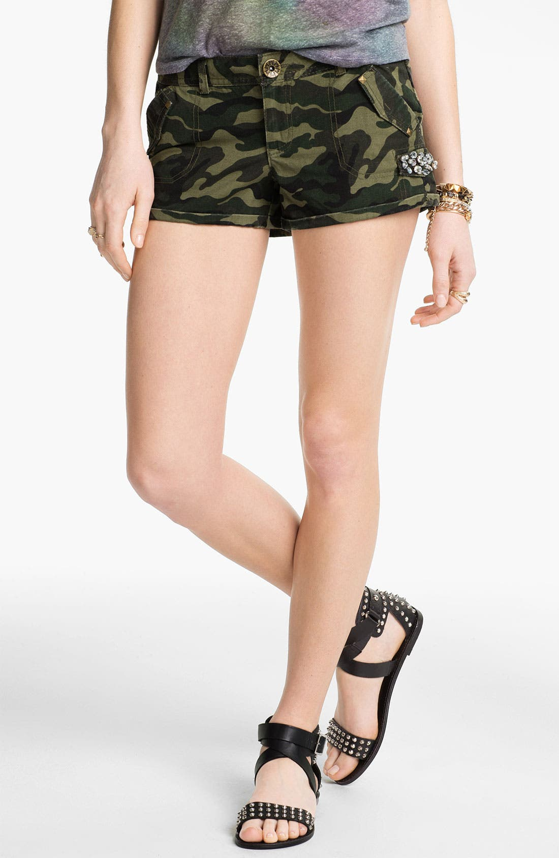 Alternate Image 1 Selected - Jolt Rhinestone Embellished Camo Shorts (Juniors)