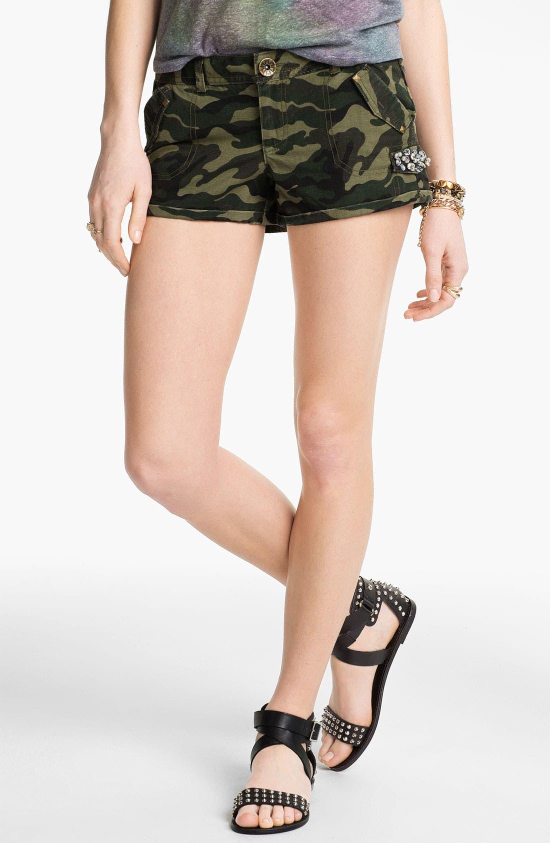 Main Image - Jolt Rhinestone Embellished Camo Shorts (Juniors)