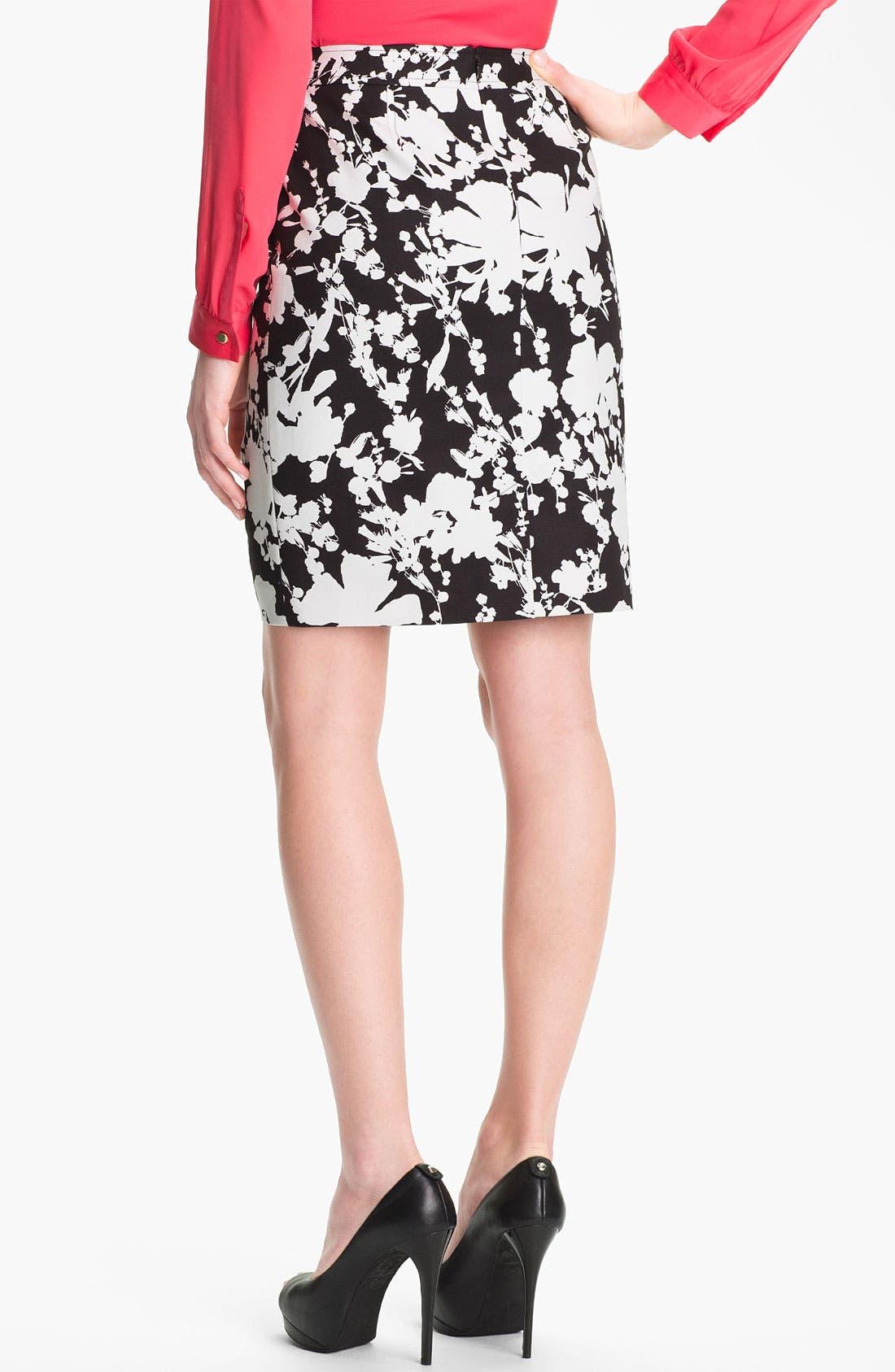 Alternate Image 2  - Halogen® Print Stretch Cotton Blend Skirt (Petite)
