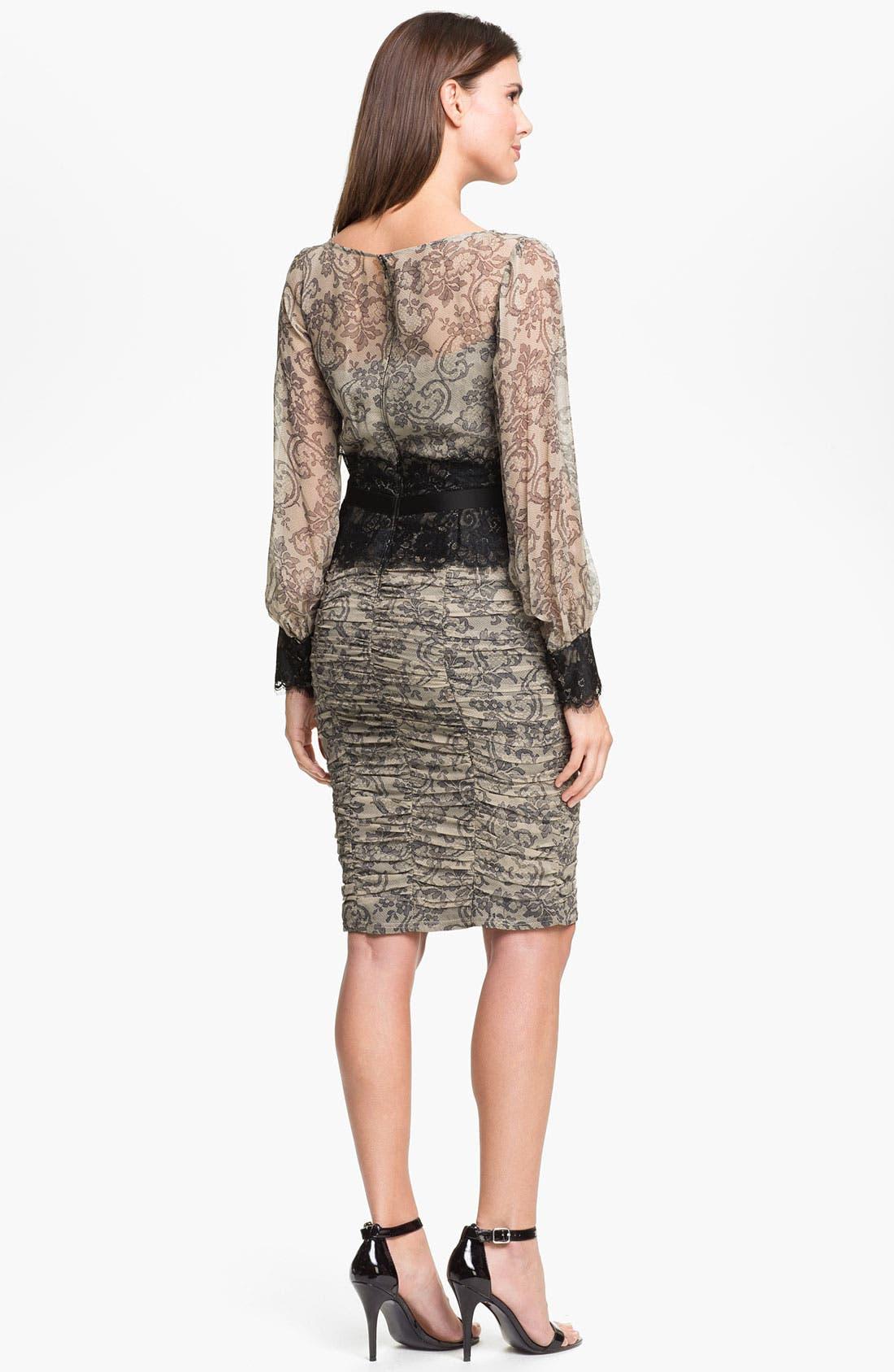 Alternate Image 2  - Tadashi Shoji Print Silk & Lace Dress (Online Only)