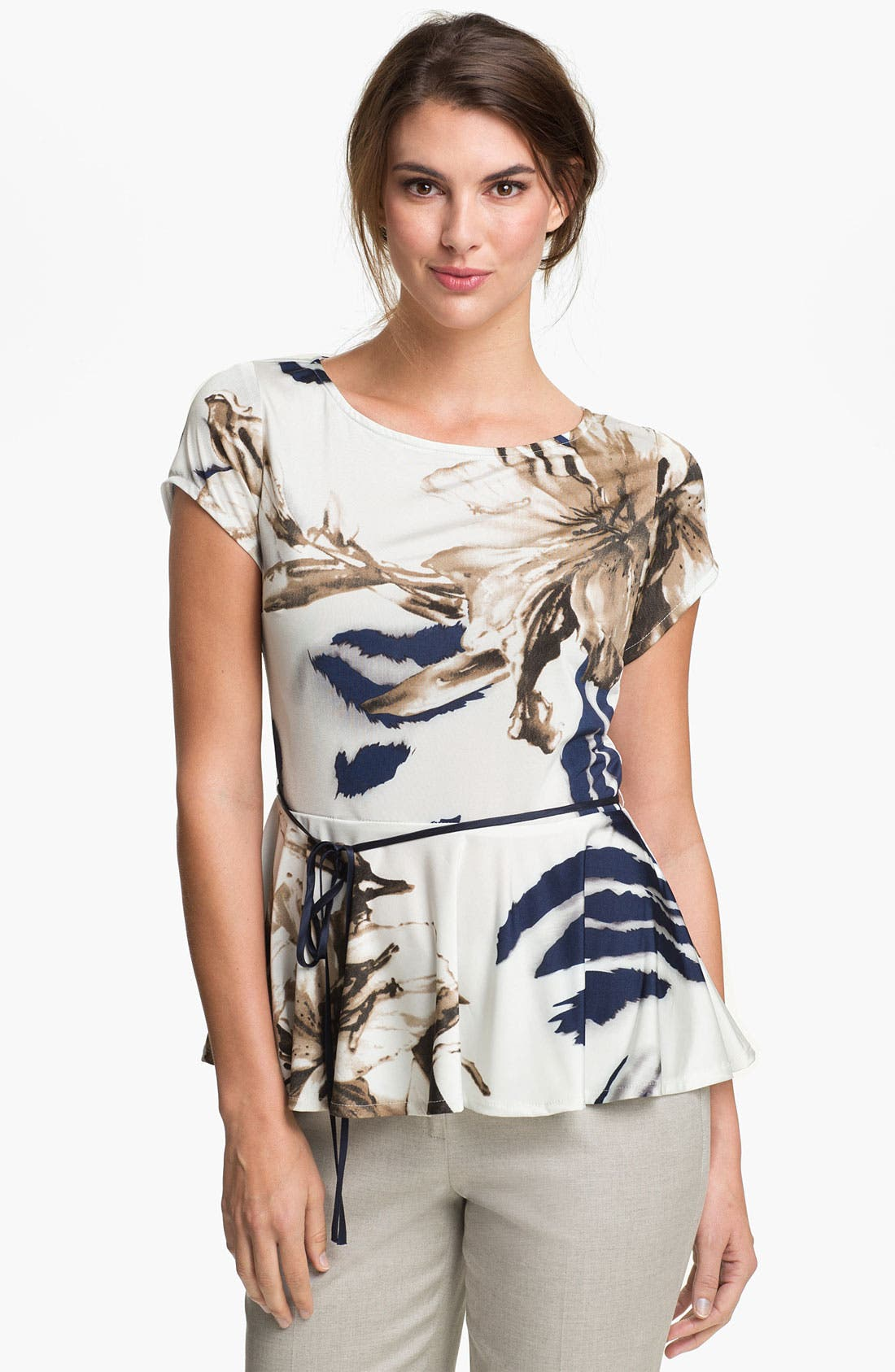 Alternate Image 1 Selected - Alberto Makali Floral Peplum Top