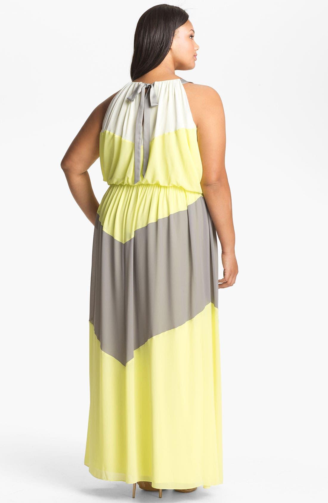 Alternate Image 2  - Vince Camuto Colorblock Maxi Dress (Plus Size)