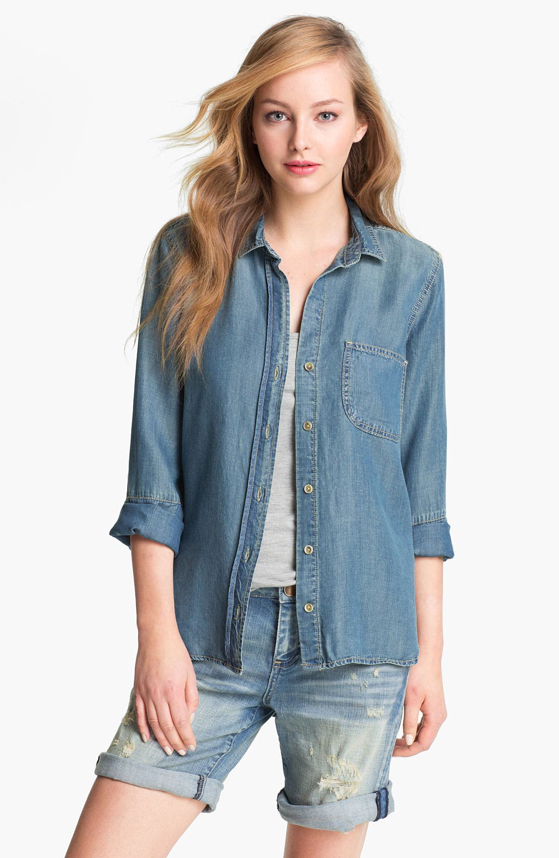 Alternate Image 1 Selected - Side Stitch Chambray Shirt