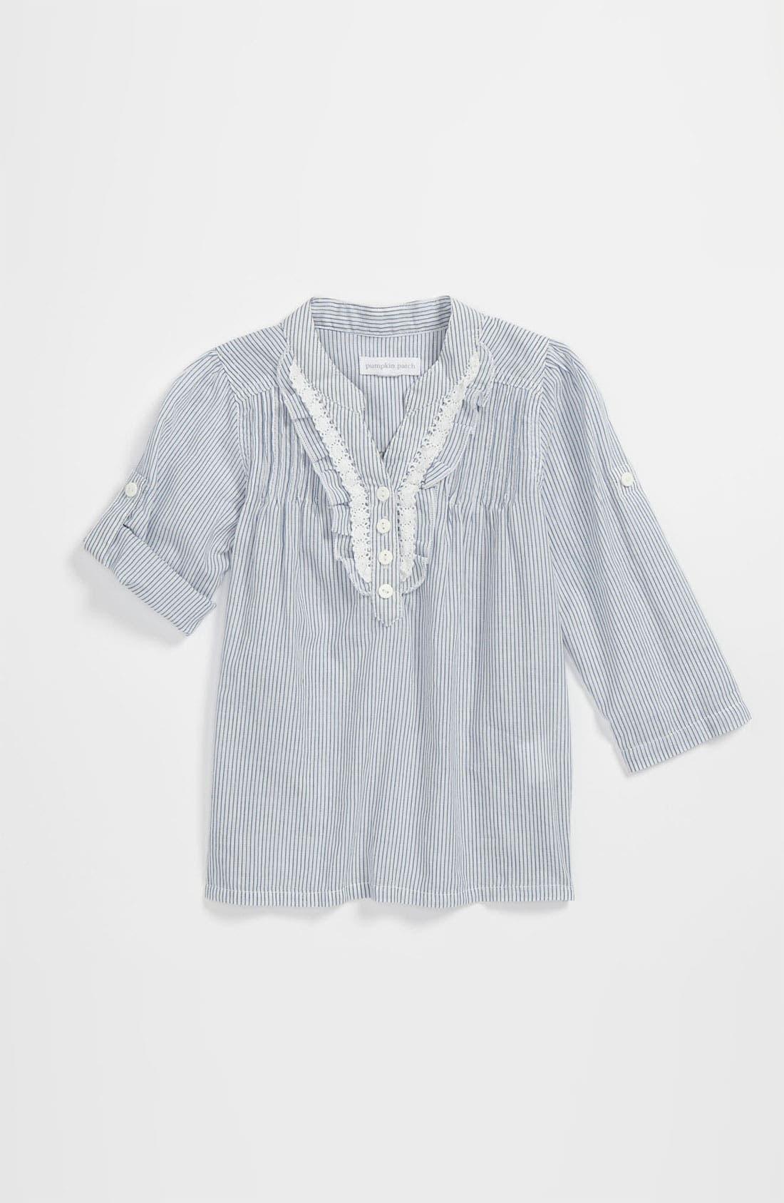 Alternate Image 1 Selected - Pumpkin Patch Stripe Ruffle Shirt (Toddler)