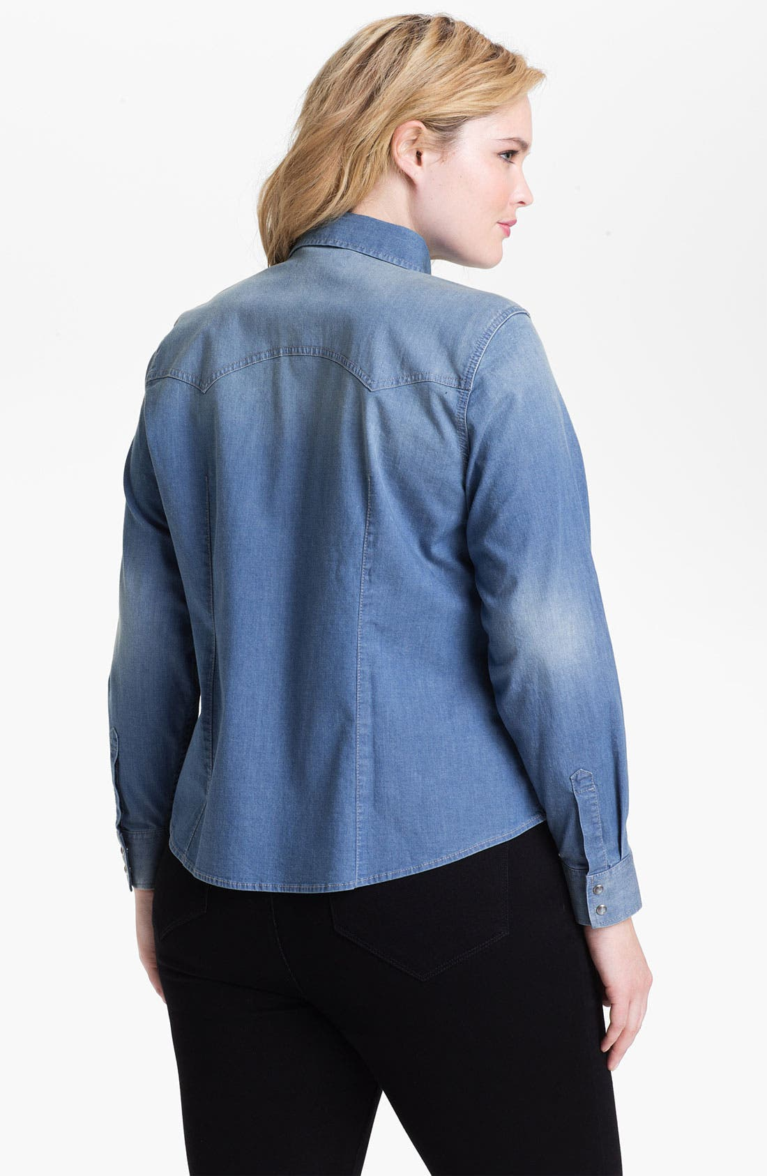 Alternate Image 2  - Two by Vince Camuto Western Denim Shirt (Plus Size)