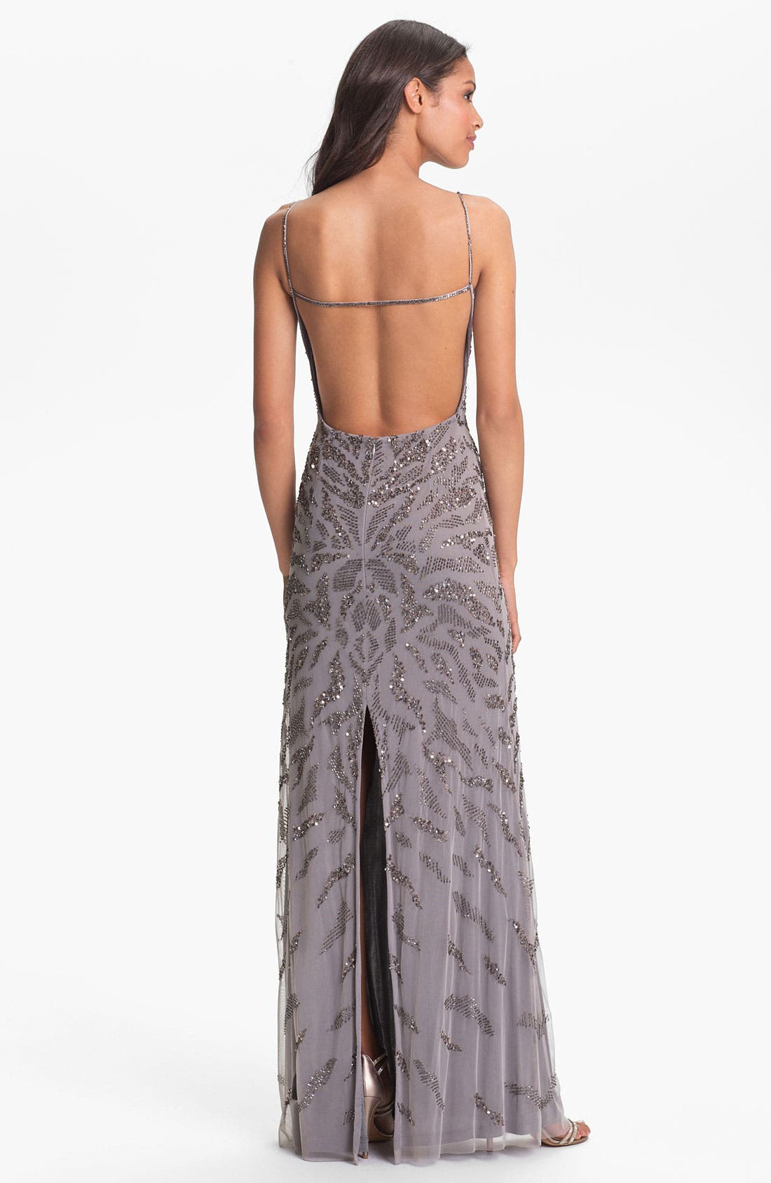 Alternate Image 2  - Adrianna Papell Embellished V-Neck Mesh Gown
