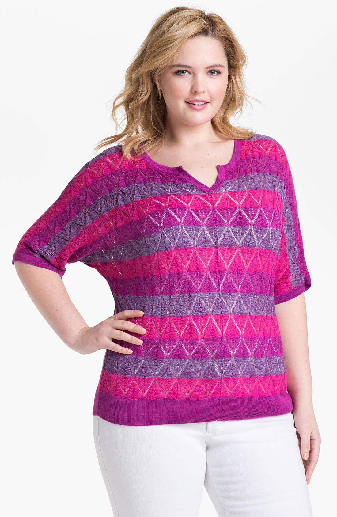 Alternate Image 1 Selected - Sejour Stripe Sweater (Plus Size)