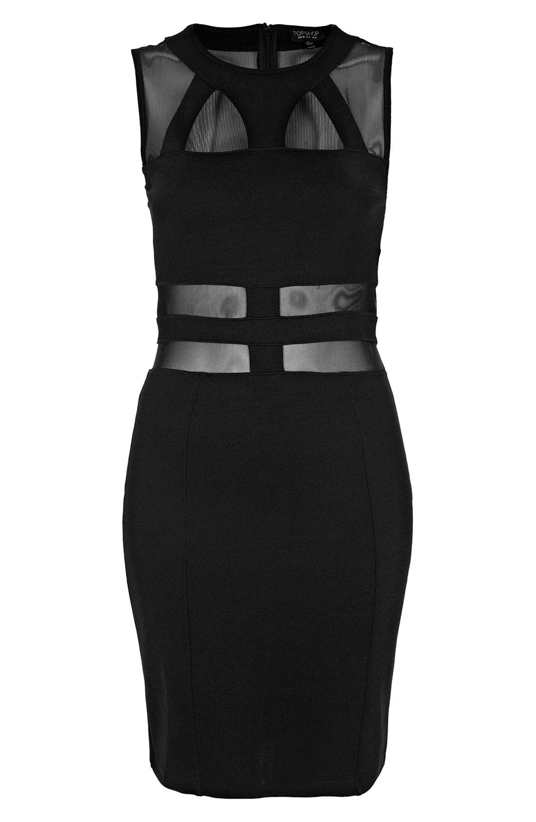 Alternate Image 3  - Topshop Mesh & Bandage Body-Con Dress
