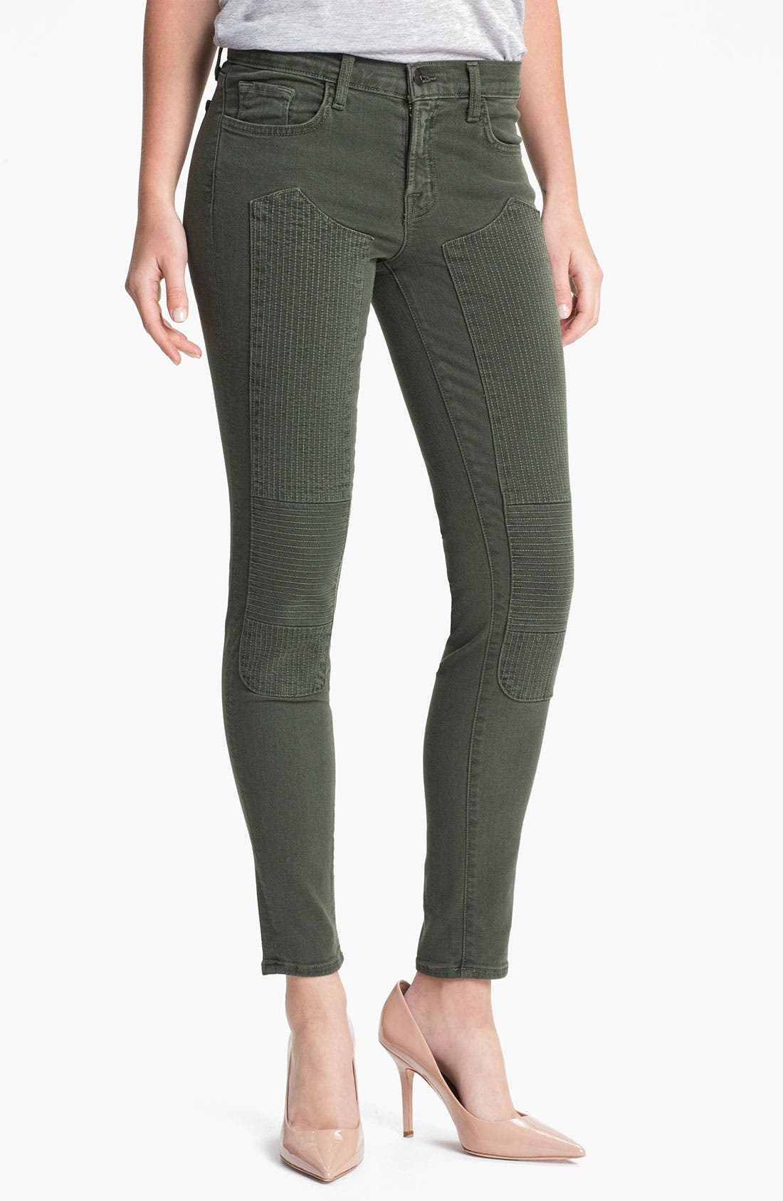 Main Image - J Brand Quilted Panel Skinny Moto Jeans (Vin Mantis)