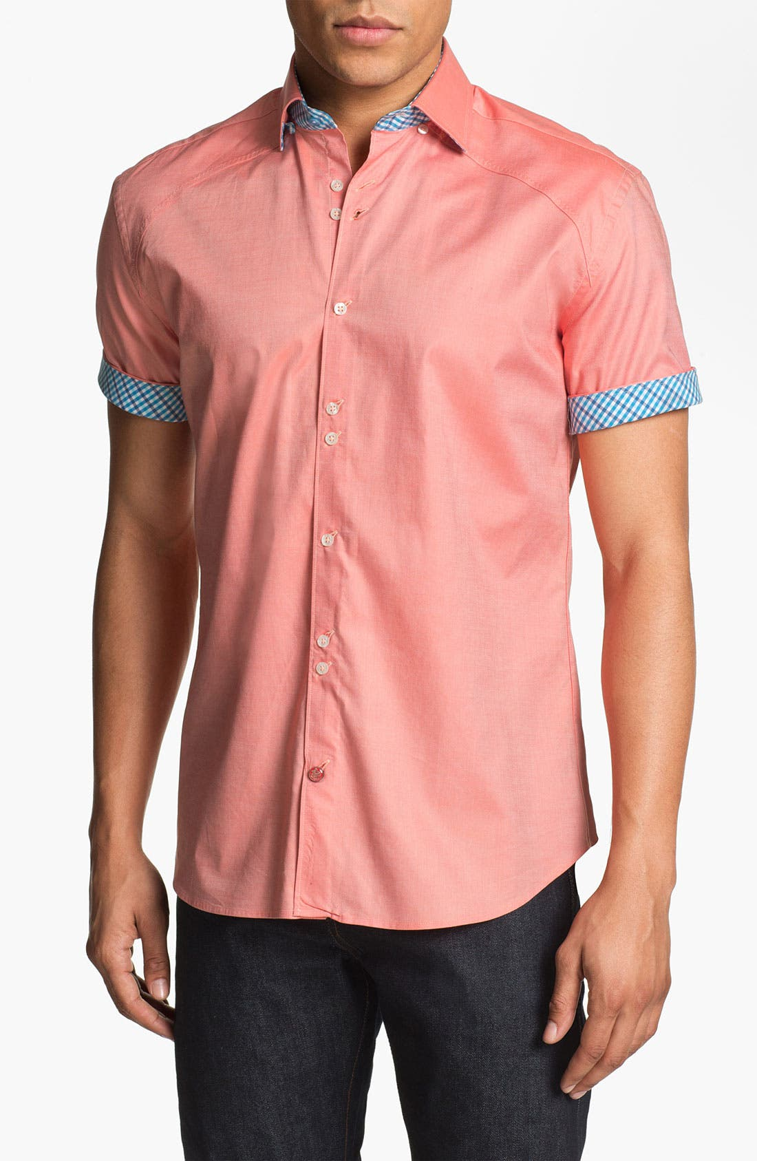 Alternate Image 1 Selected - Stone Rose Short Sleeve Oxford Shirt