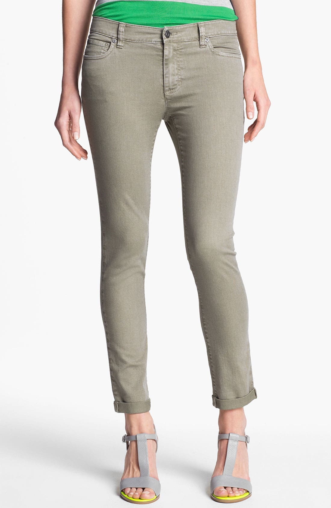 Main Image - Two by Vince Camuto 'Shorty' Skinny Crop Jeans (Washed Olive)