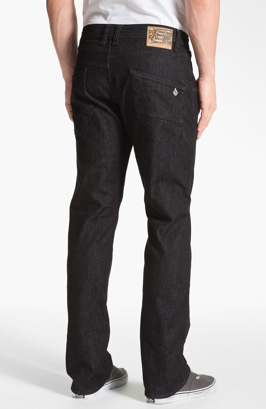Alternate Image 1 Selected - Volcom 'Nova' Slim Straight Leg Jeans (Black Rinse) (Online Only)