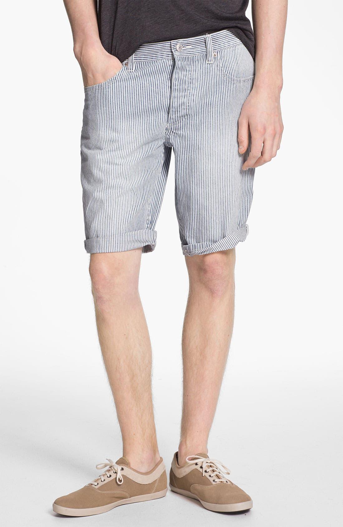 Alternate Image 1 Selected - Topman Slim Fit Stripe Denim Shorts