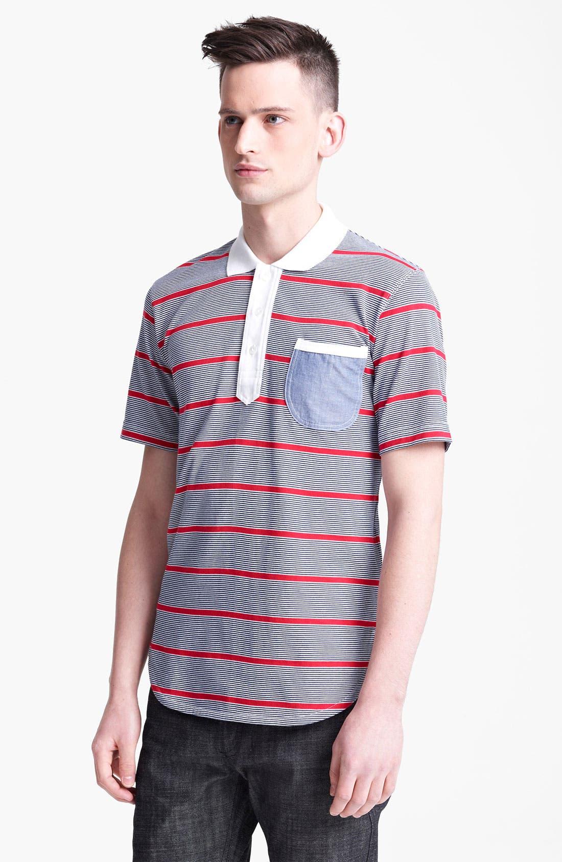 Alternate Image 1 Selected - Junya Watanabe Stripe Jersey Cotton Polo