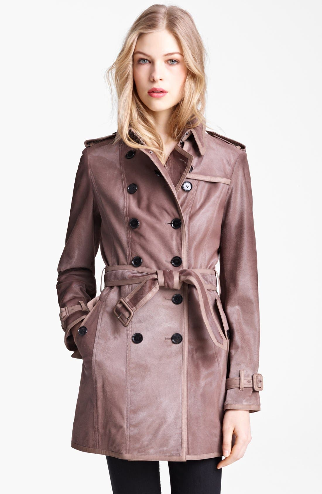 Main Image - Burberry London Shiny Calf Hair Trench Coat