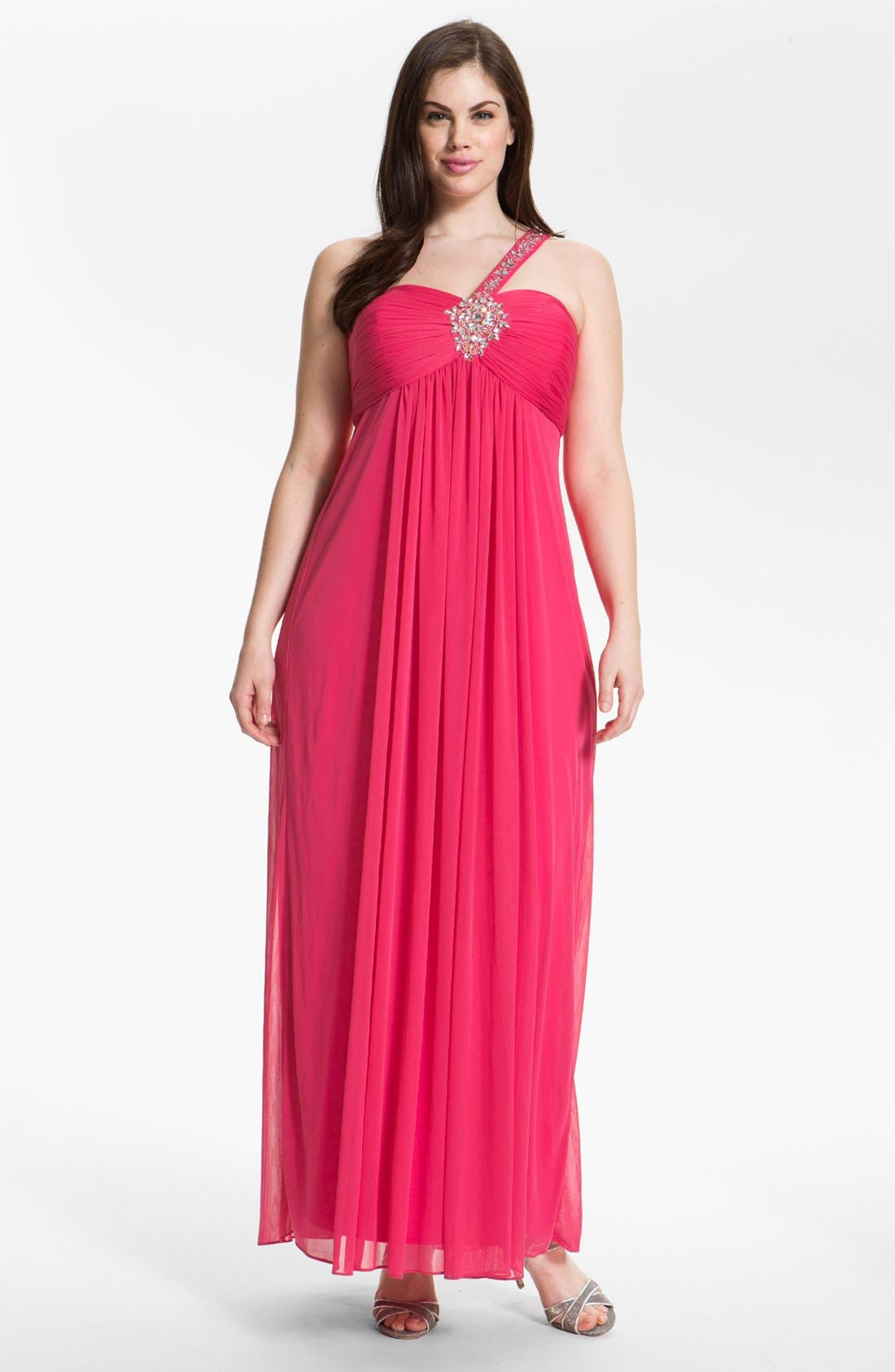 Main Image - Xscape Embellished One Shoulder Mesh Gown (Plus Size)