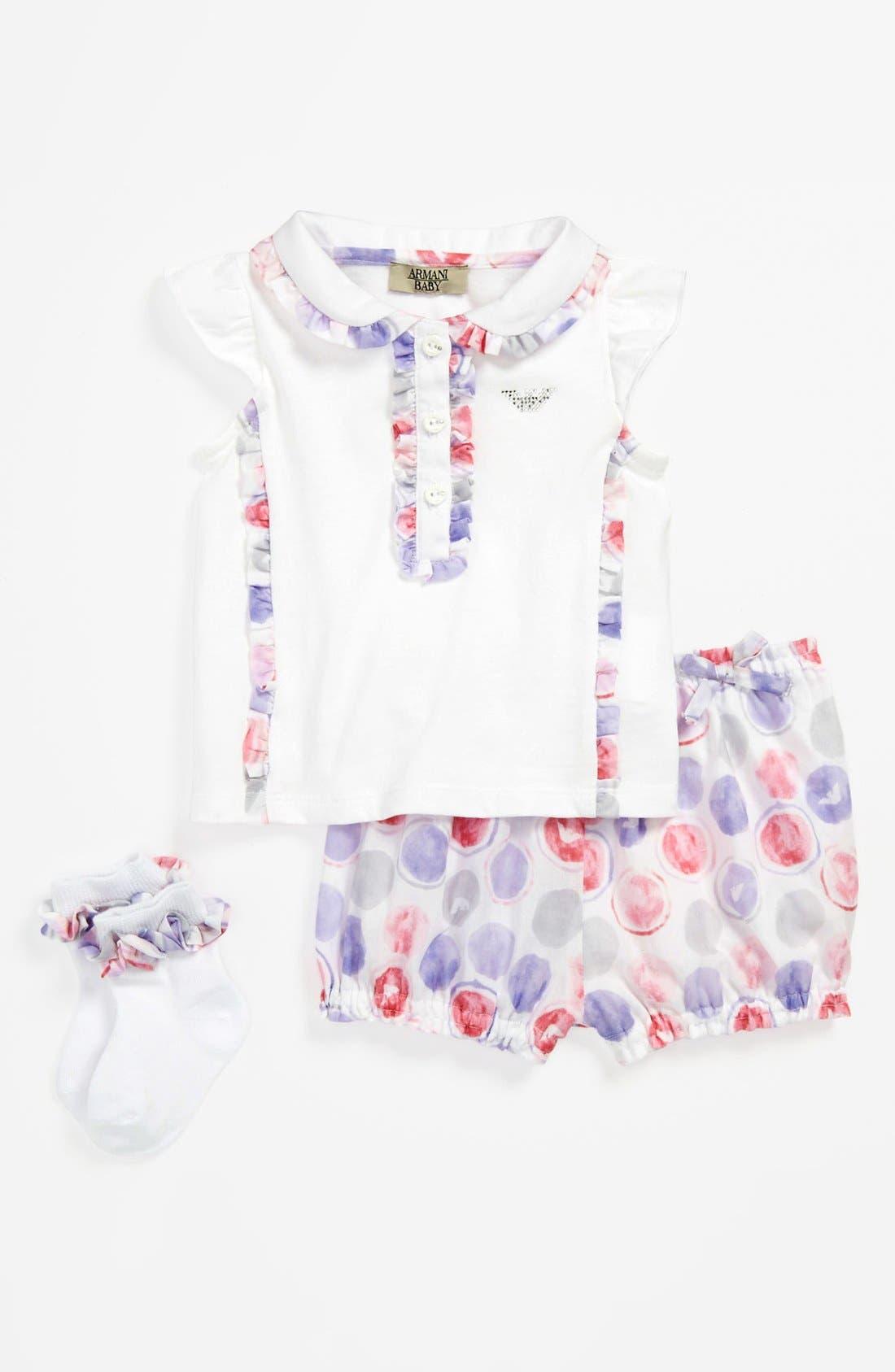 Alternate Image 1 Selected - Armani Junior Shirt, Pants & Socks (Baby Girls)